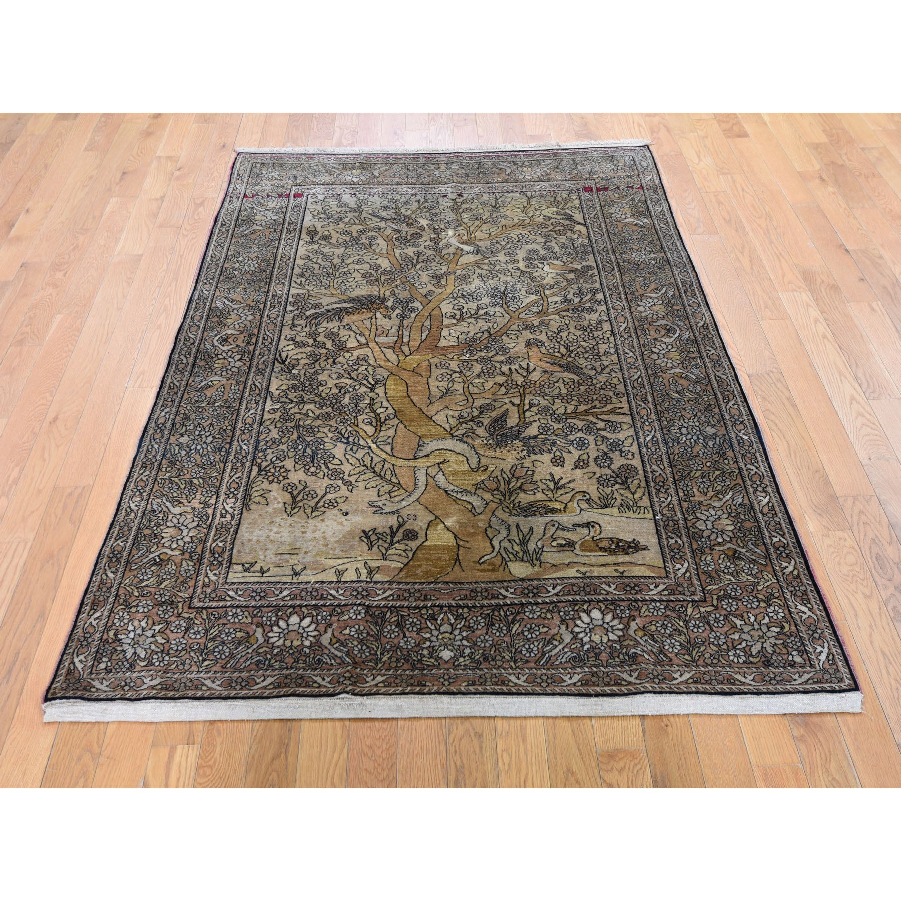"""4'7""""x6'7""""  Gold Antique Persian Isfahan Tree Of Life Hand Knotted Oriental Rug"""