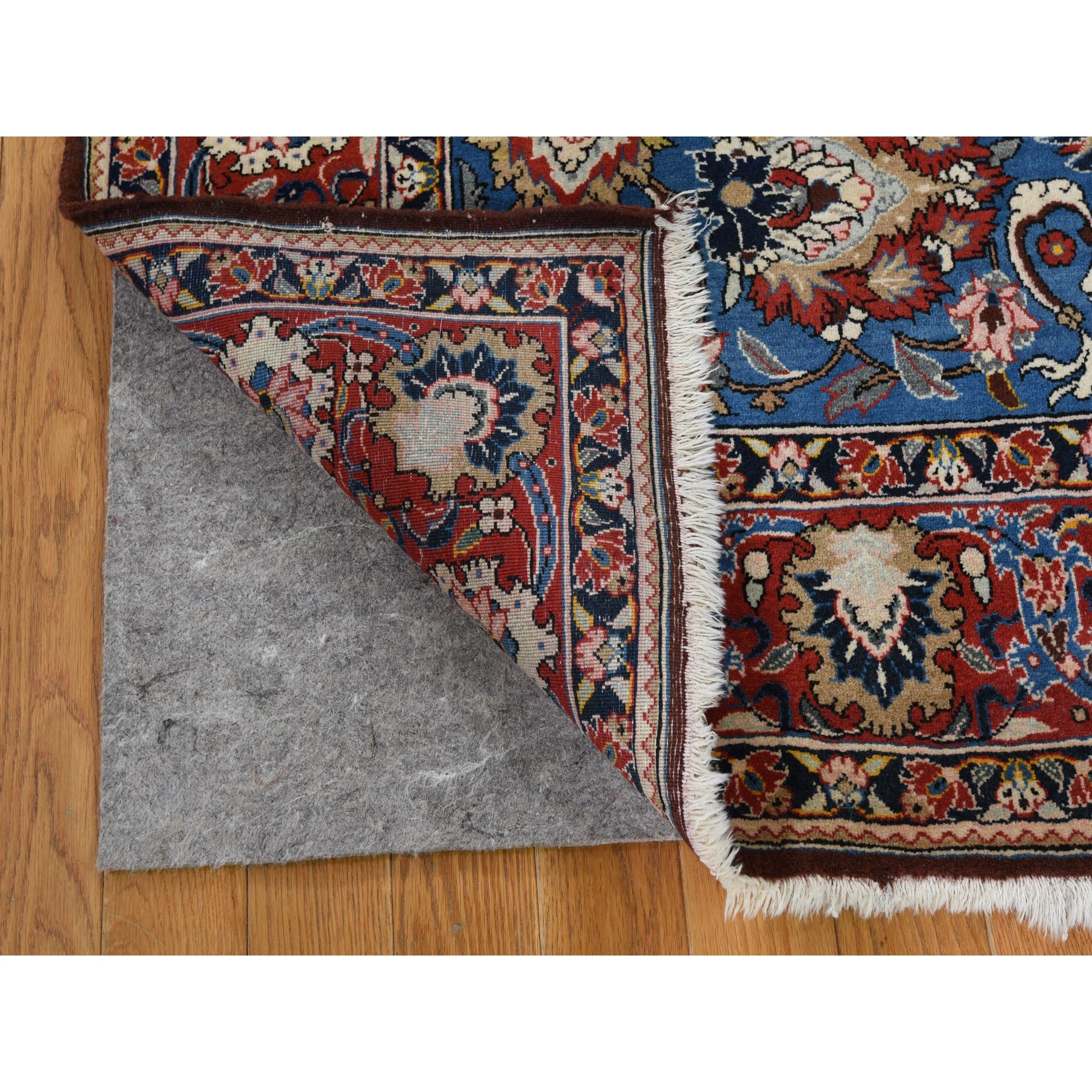 """4'8""""x7' Blue Vintage Persian Qum Full Pile Exc Condition Hand Knotted Oriental Rug"""