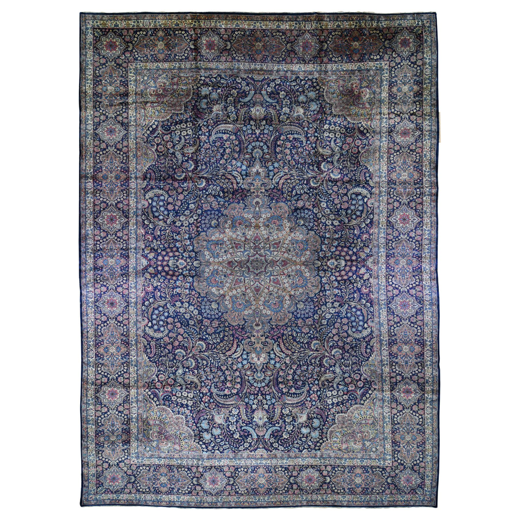 "13'4""X19'7"" Oversized Antique Persian Kerman Full Pile And Soft Hand Knotted Oriental Rug moad8707"