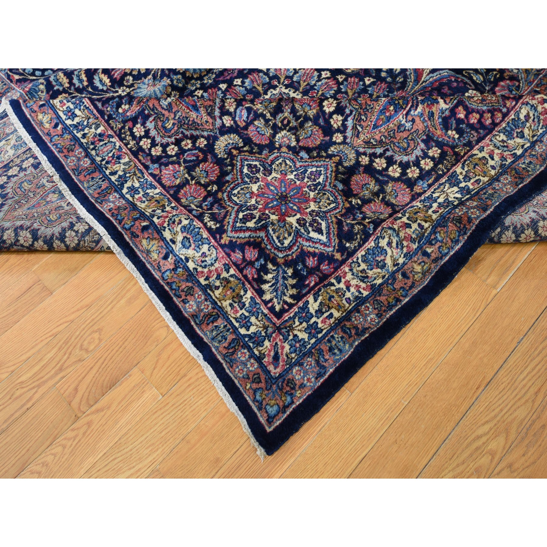 "13'4""x19'7"" Oversized Antique Persian Kerman Full Pile And Soft Hand Knotted Oriental Rug"
