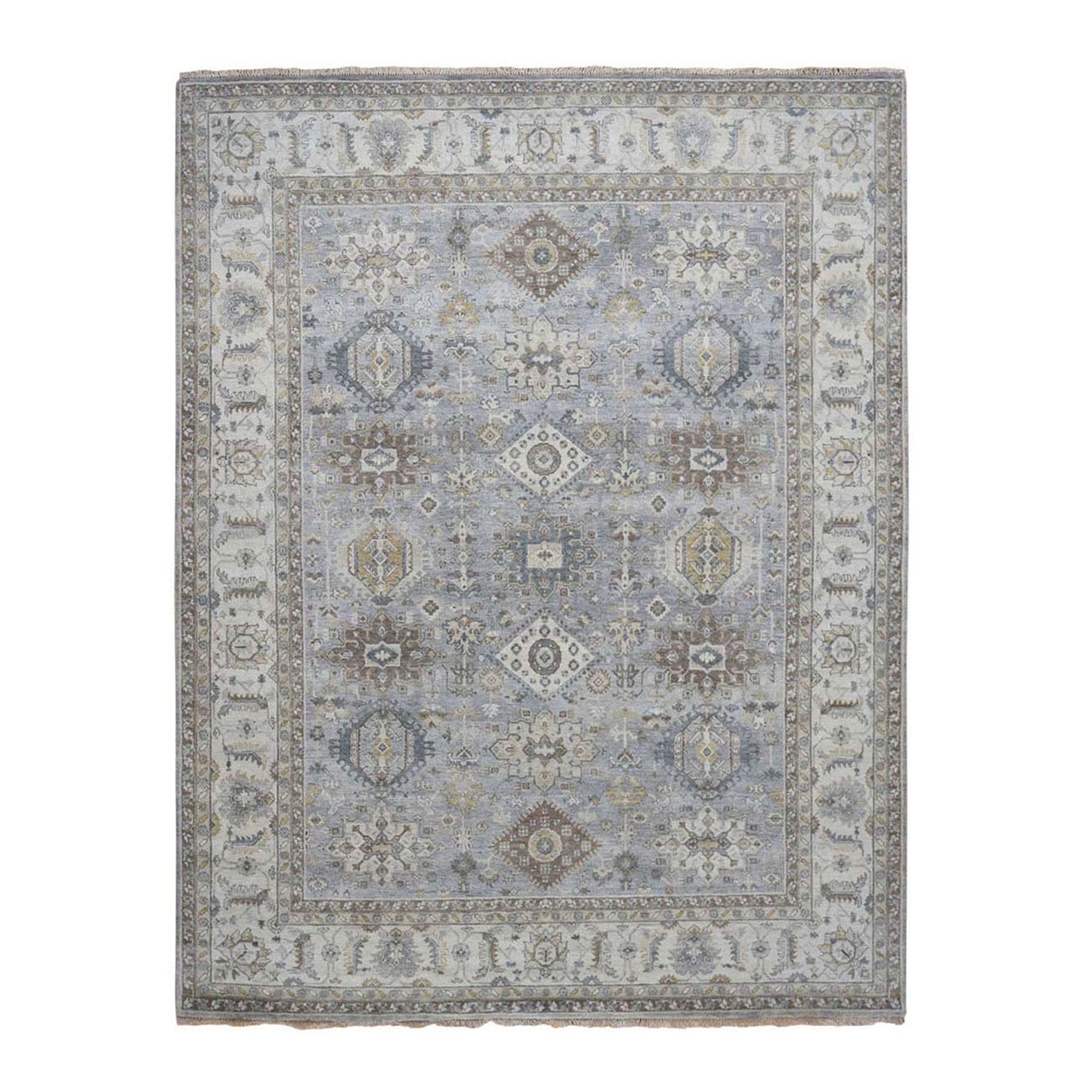 """8'2""""x10'1"""" Karajeh Design Pure Wool Gray Hand Knotted Oriental Rug"""