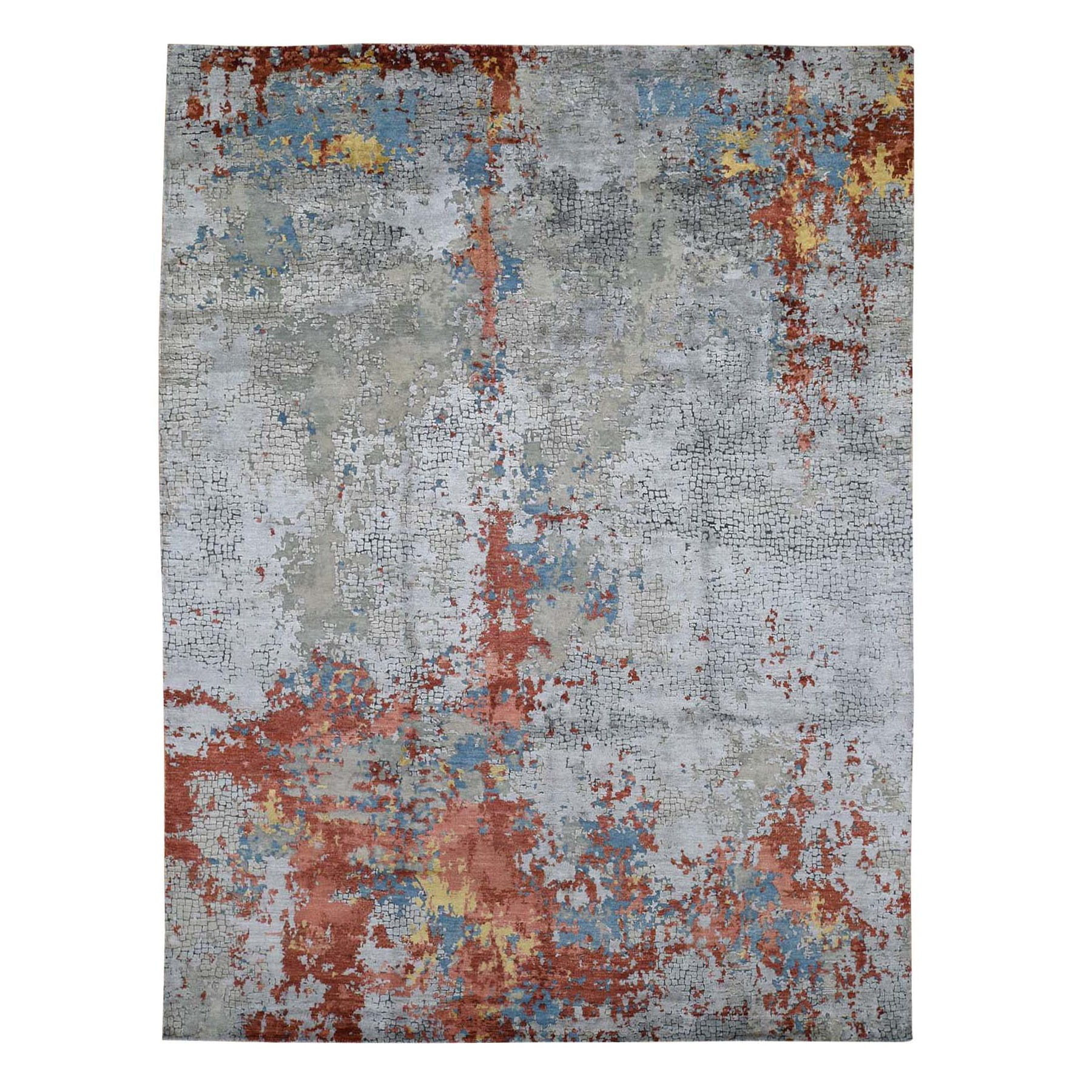 "8'x9'10"" Wool And Silk Abstract With Fire Mosaic Design Hand Knotted Oriental Rug"