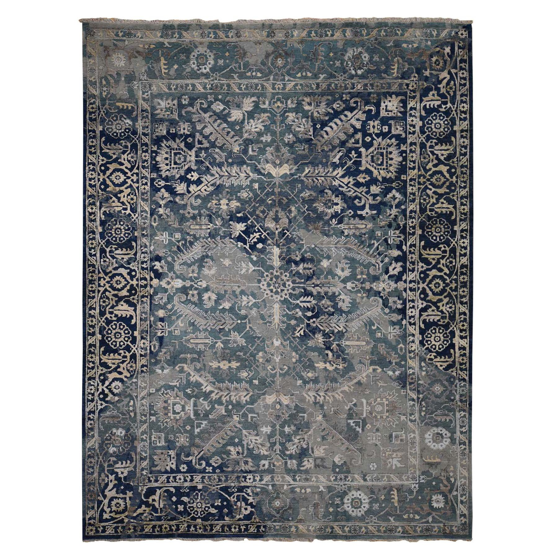 "9'10""x13'10"" Broken Persian Heriz All Over Design Wool And Silk Hand Knotted Oriental Rug"