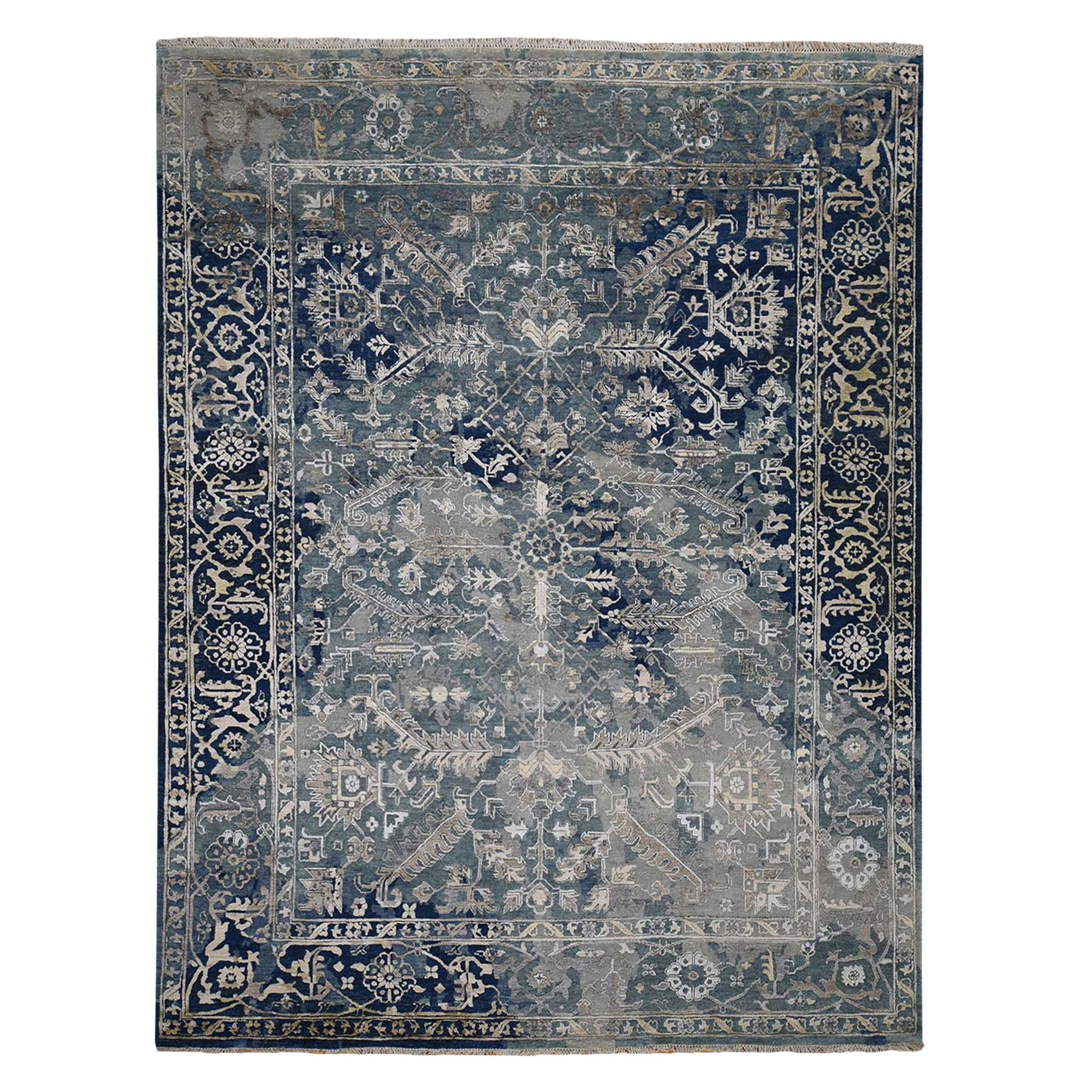 "8'1""x10'2"" Broken Persian Heriz All Over Design Wool And Silk Hand Knotted Oriental Rug"