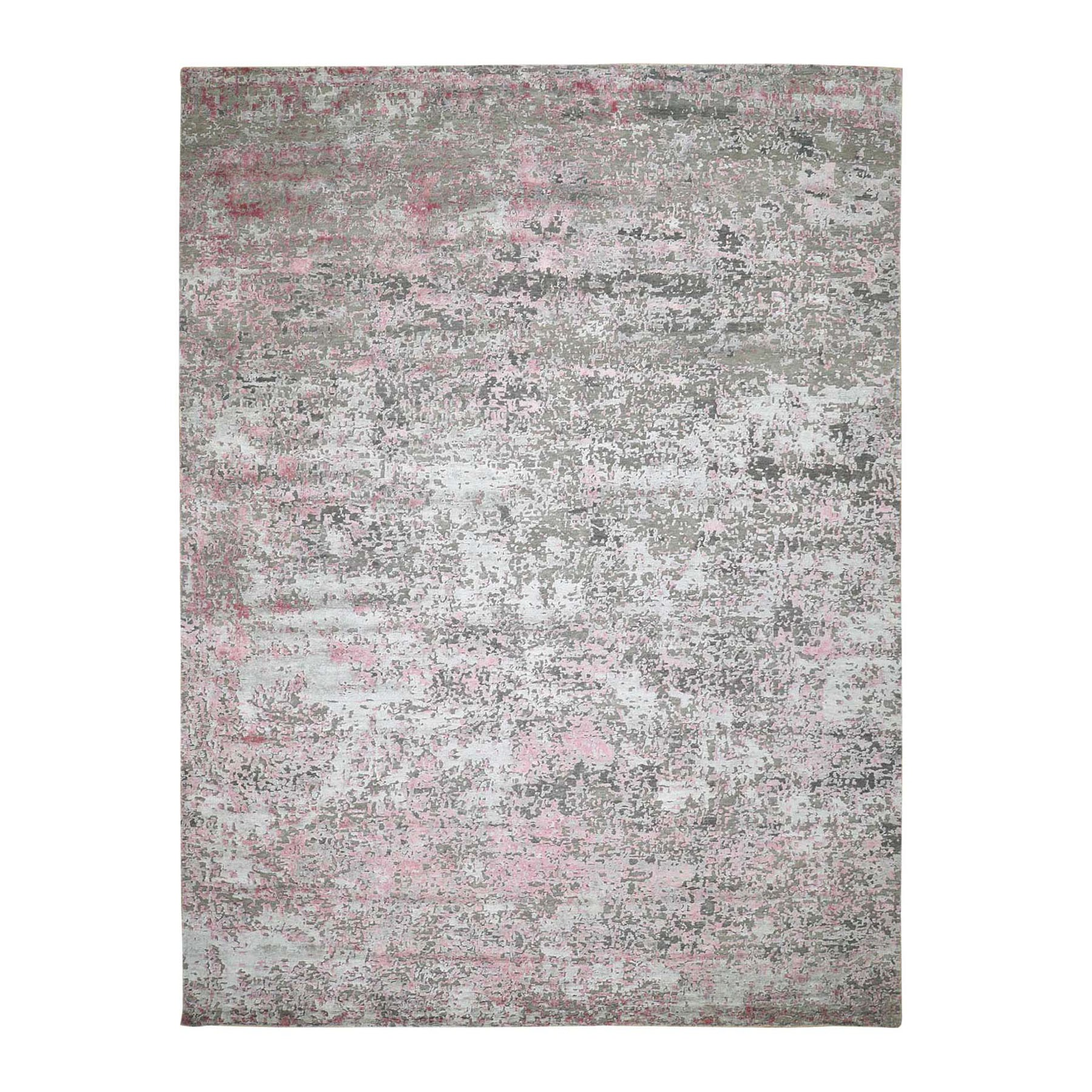 9'x12' Pink Hi-Low Pile Abstract Design Wool And Silk Hand Knotted Oriental Rug