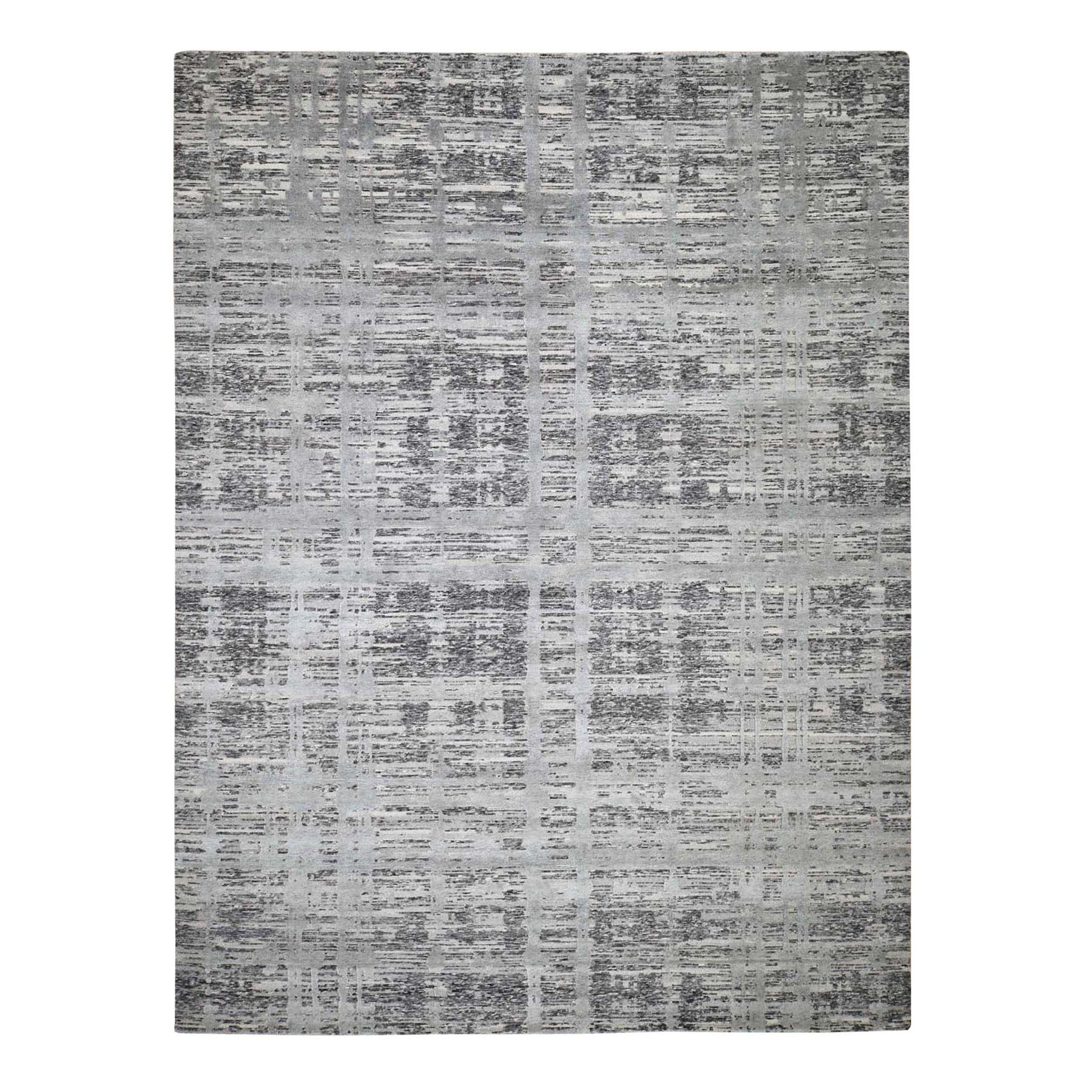 "9'X11'9"" Gray Hand Spun Undyed Natural Wool Modern Hand-Knotted Oriental Rug moad87be"