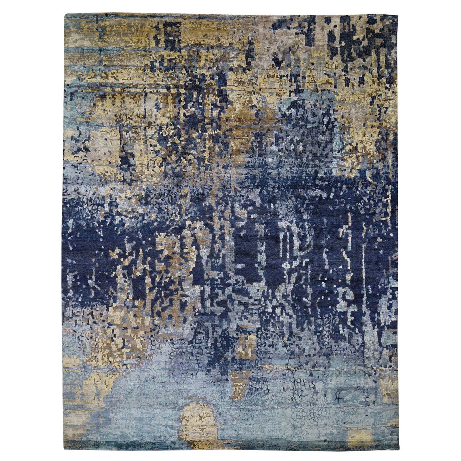 "11'10""X14'10"" Oversized Mosaic Design Blue Wool And Silk Hand Knotted Oriental Rug moad87b7"