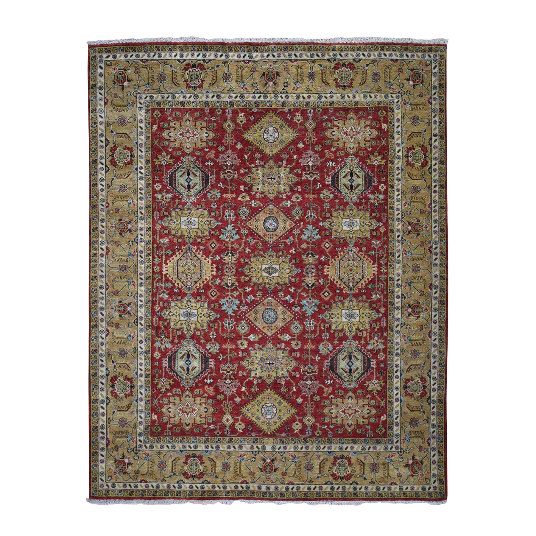 8'x10' Red Hand Knotted Karajeh Design Pure Wool Oriental Rug
