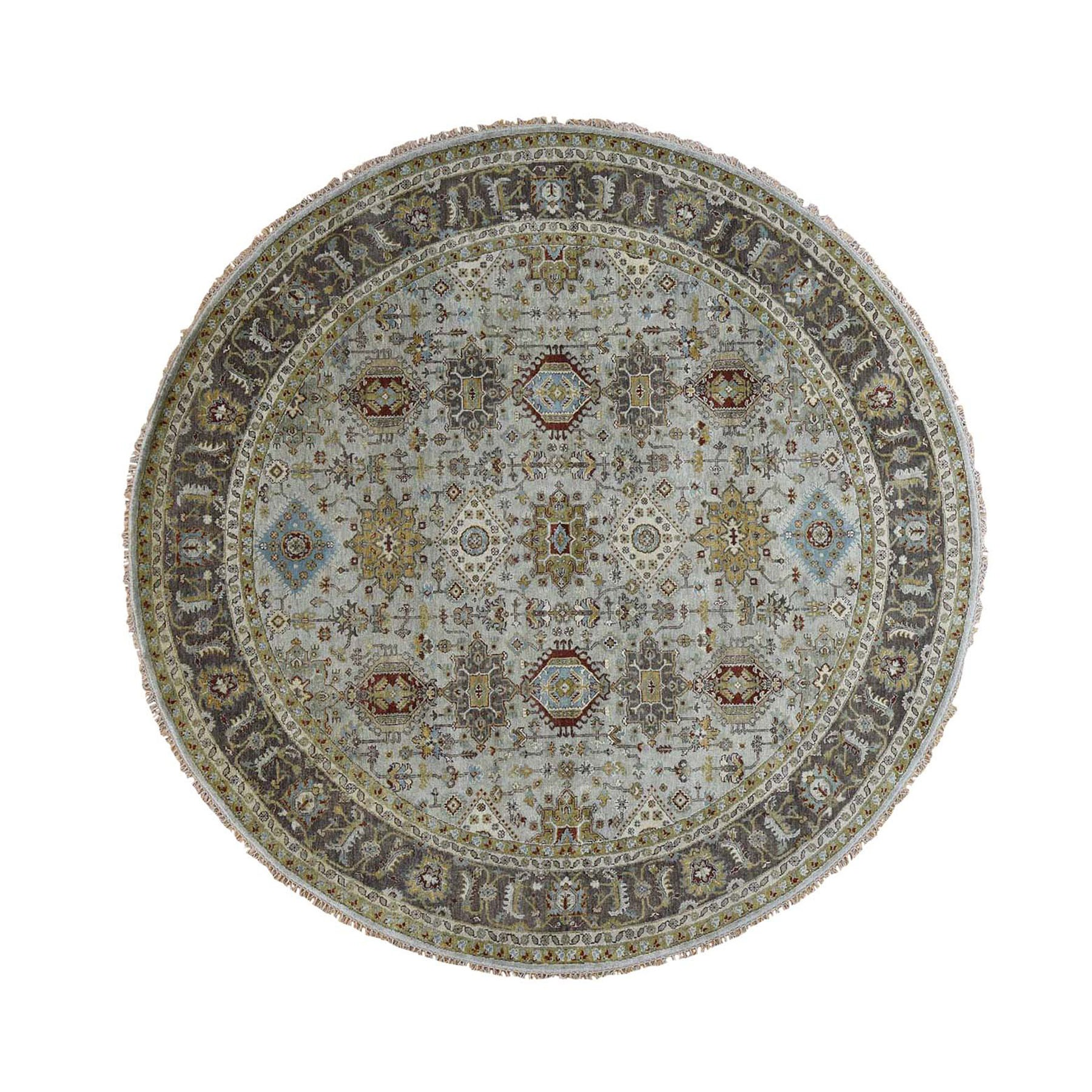 10'X10' Hand Knotted Gray Karajeh Design Pure Wool Round Oriental Rug moad87cb