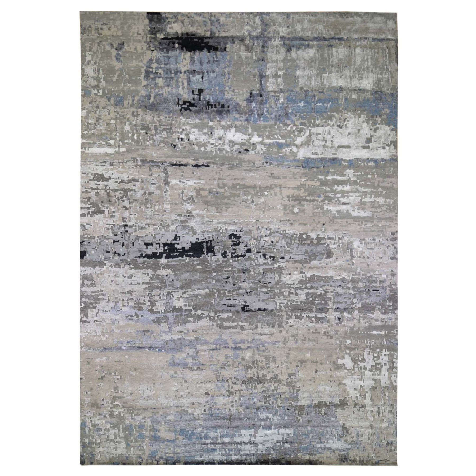 "12'X17'9"" Oversized Gray Hi Low Pile Abstract Design Wool And Silk Hand Knotted Oriental Rug moad87cc"