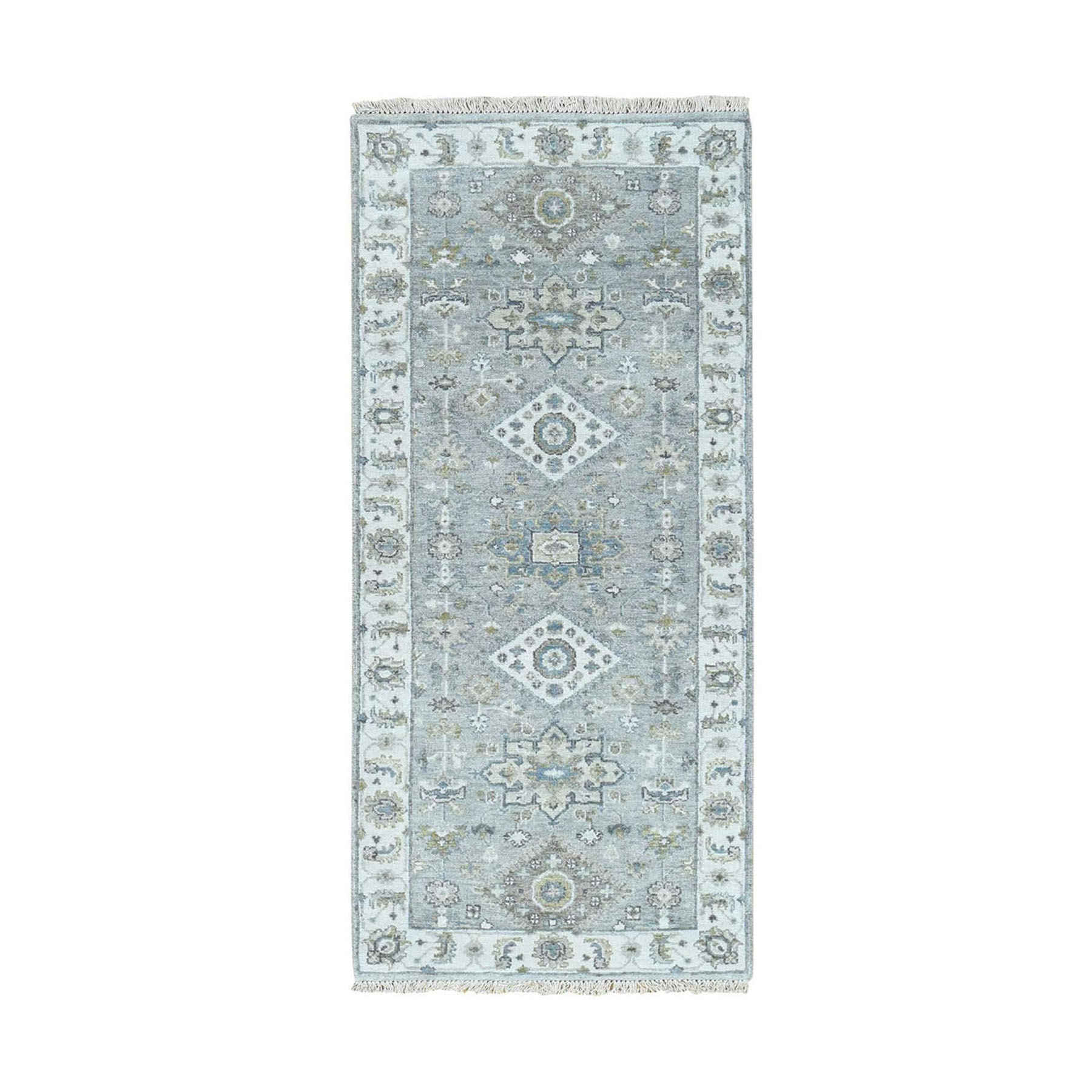 "2'6""x5'10"" Gray Karajeh Design Pure Wool Runner Hand knotted Oriental Rug"