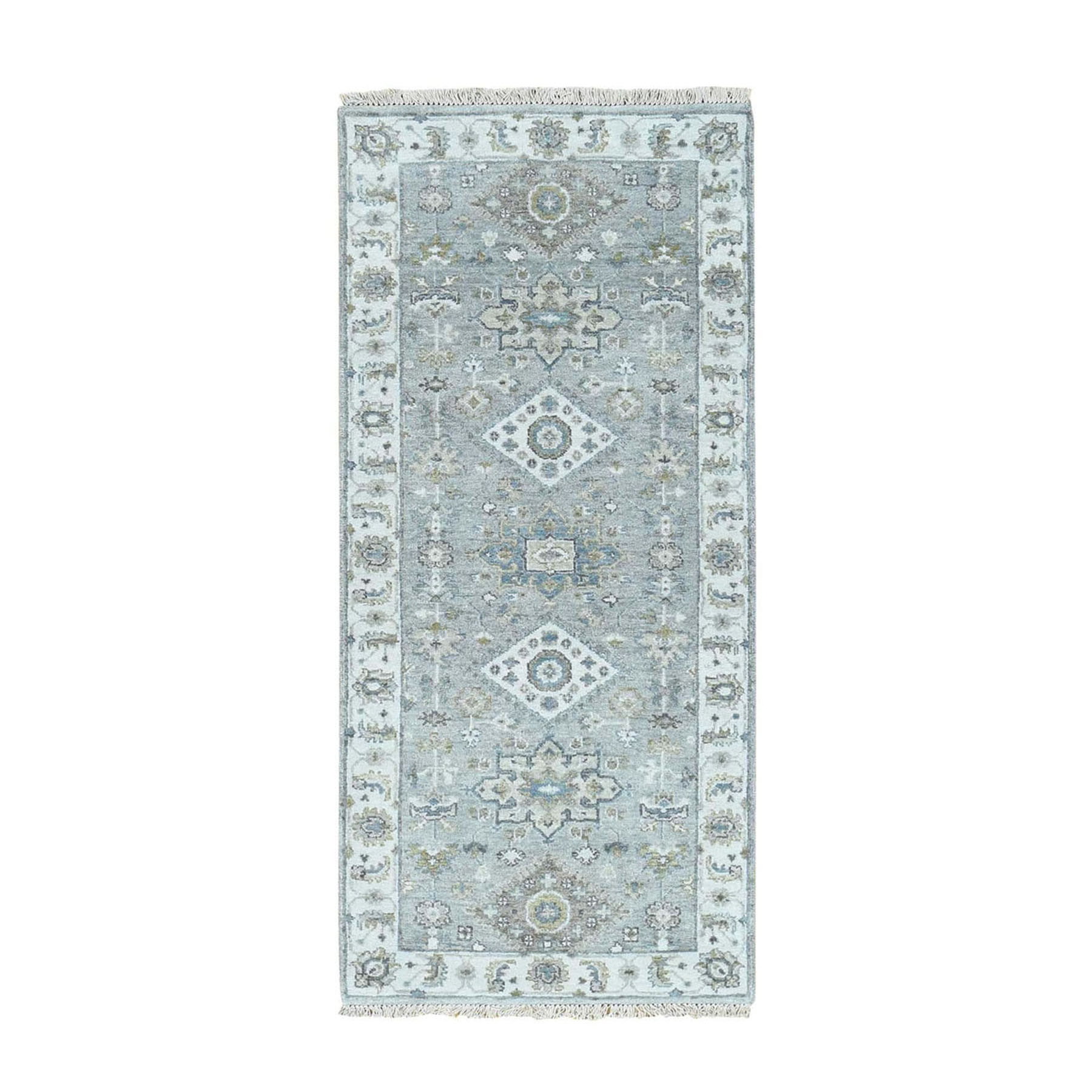 "2'8""x6'1""  Gray Karajeh Design Pure Wool Runner Hand-knotted Oriental Rug"