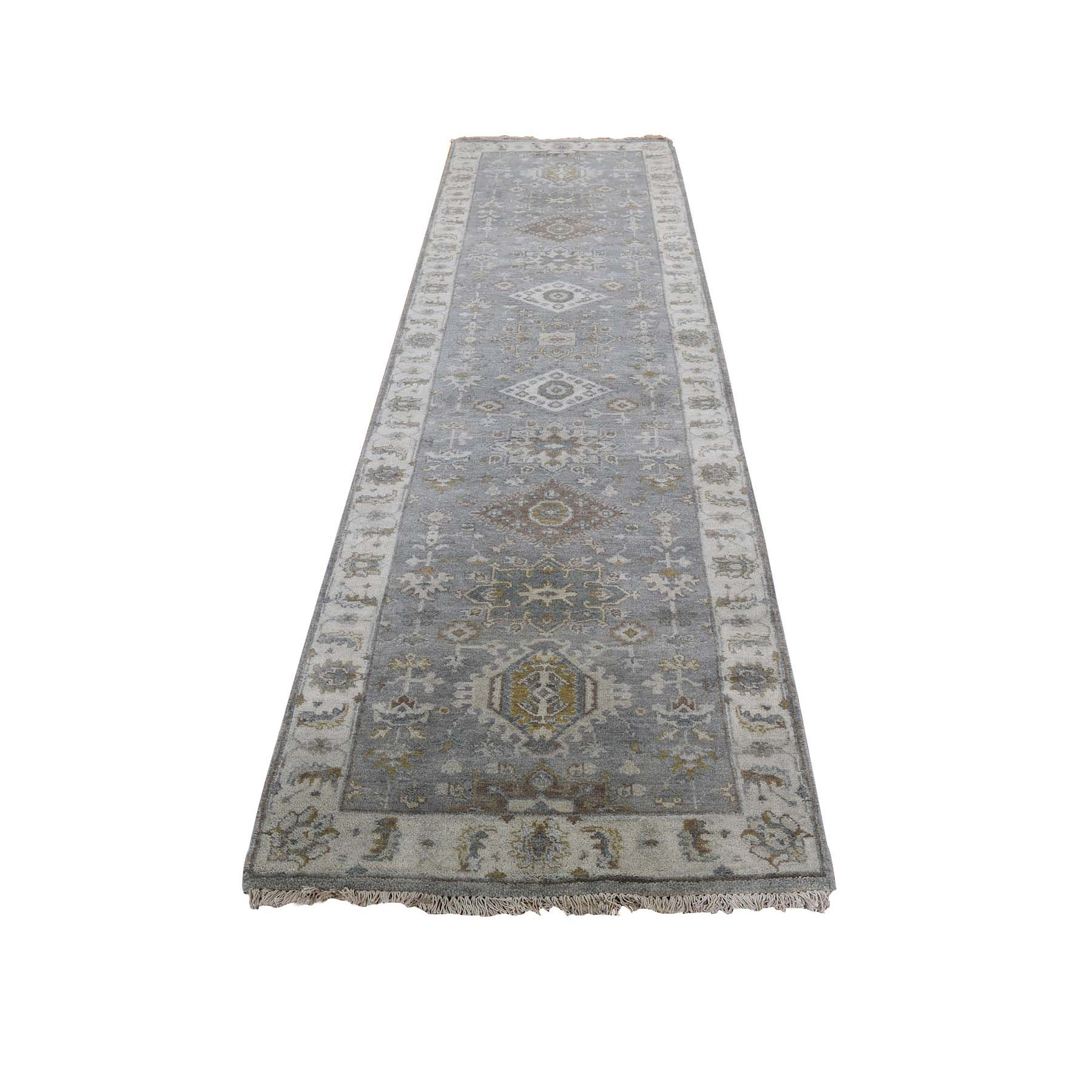 "2'6""x7'9"" Gray Karajeh Design Pure Wool Hand Knotted Runner Oriental Rug"