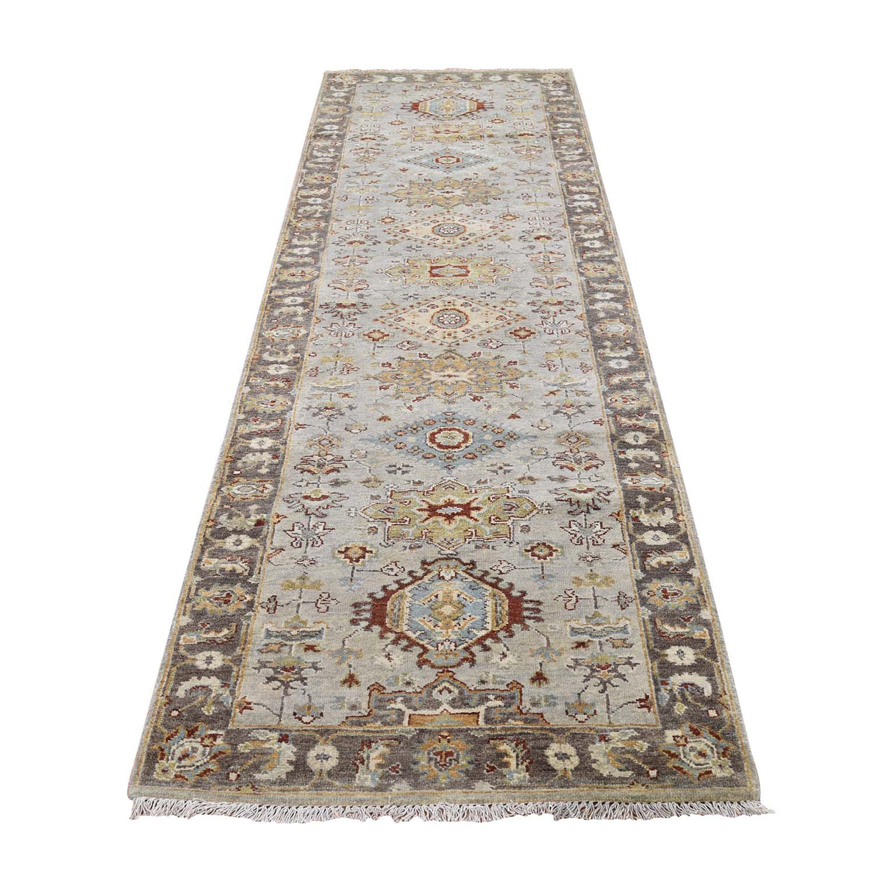 "2'7""X10' Pure Wool Karajeh Design Hand-Knotted Runner Oriental Rug moad87c9"