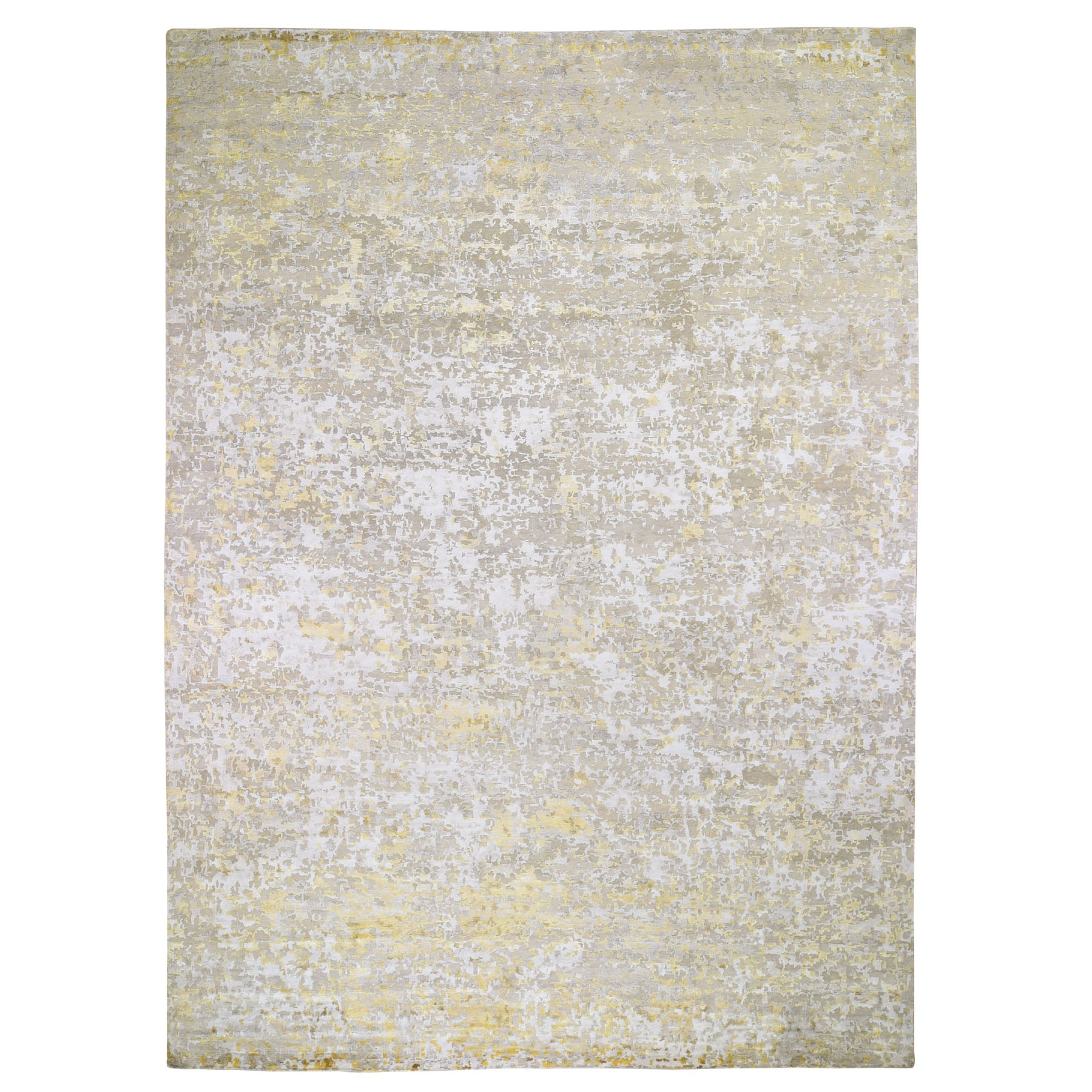 "10'x13'10"" Gold Hi-Lo Pile Abstract Design Wool And Silk Hand Knotted Oriental Rug"