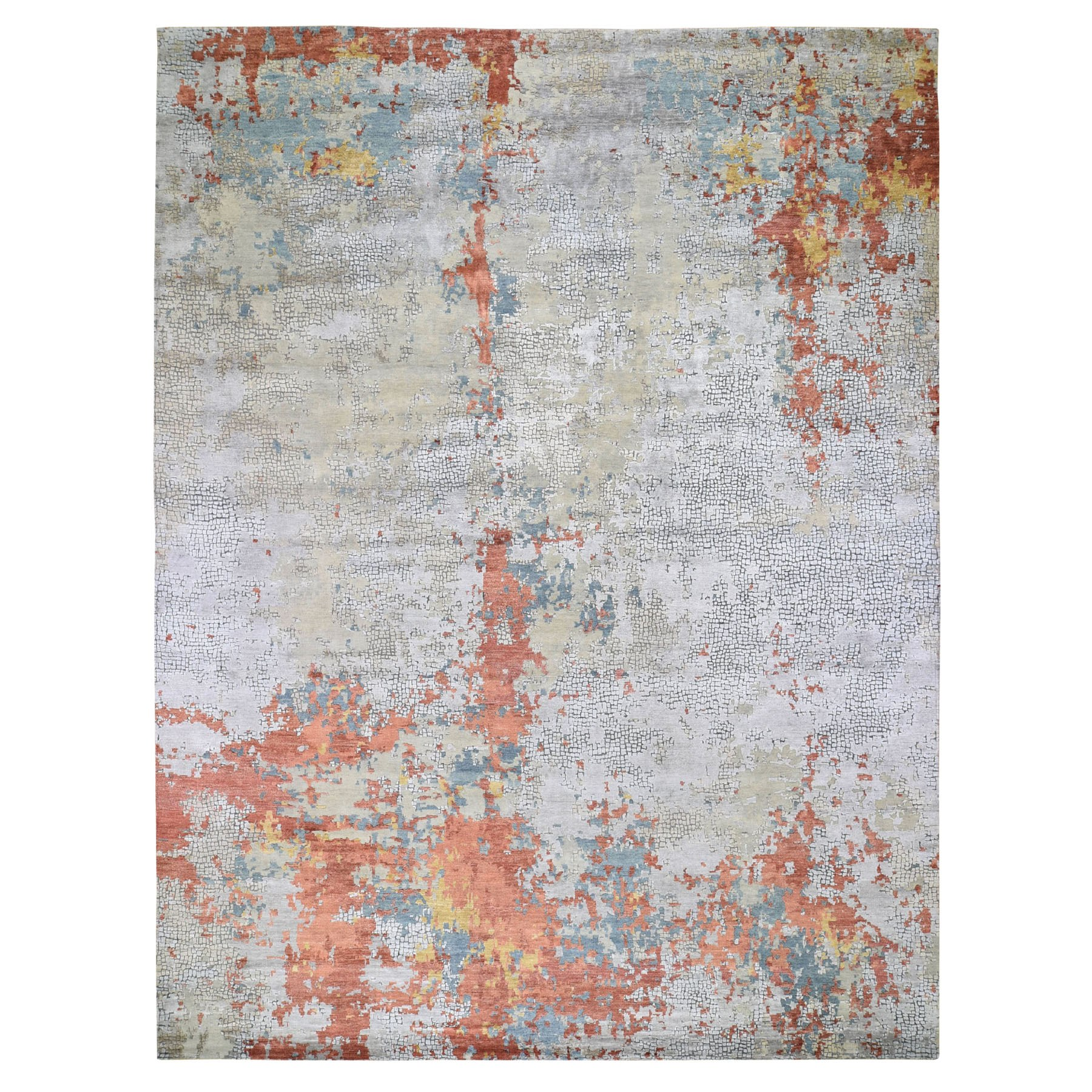 "11'10""x14'9"" Oversized Wool And Silk Abstract With Fire Mosaic Design Hand Knotted Oriental Rug"