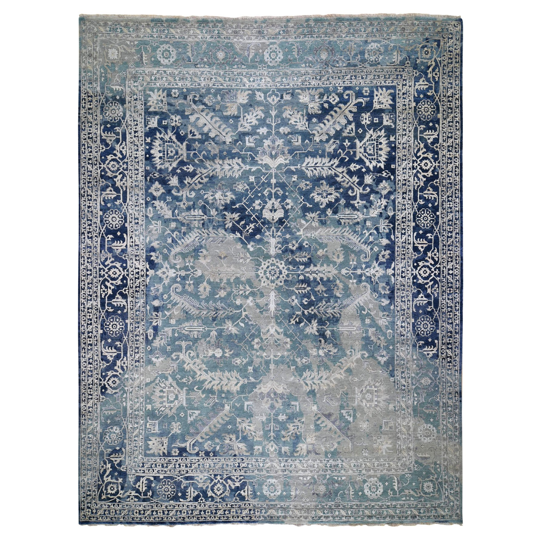"11'9""x14'9"" Oversized Broken Persian Heriz All Over Design Wool And Silk Hand Knotted Oriental Rug"