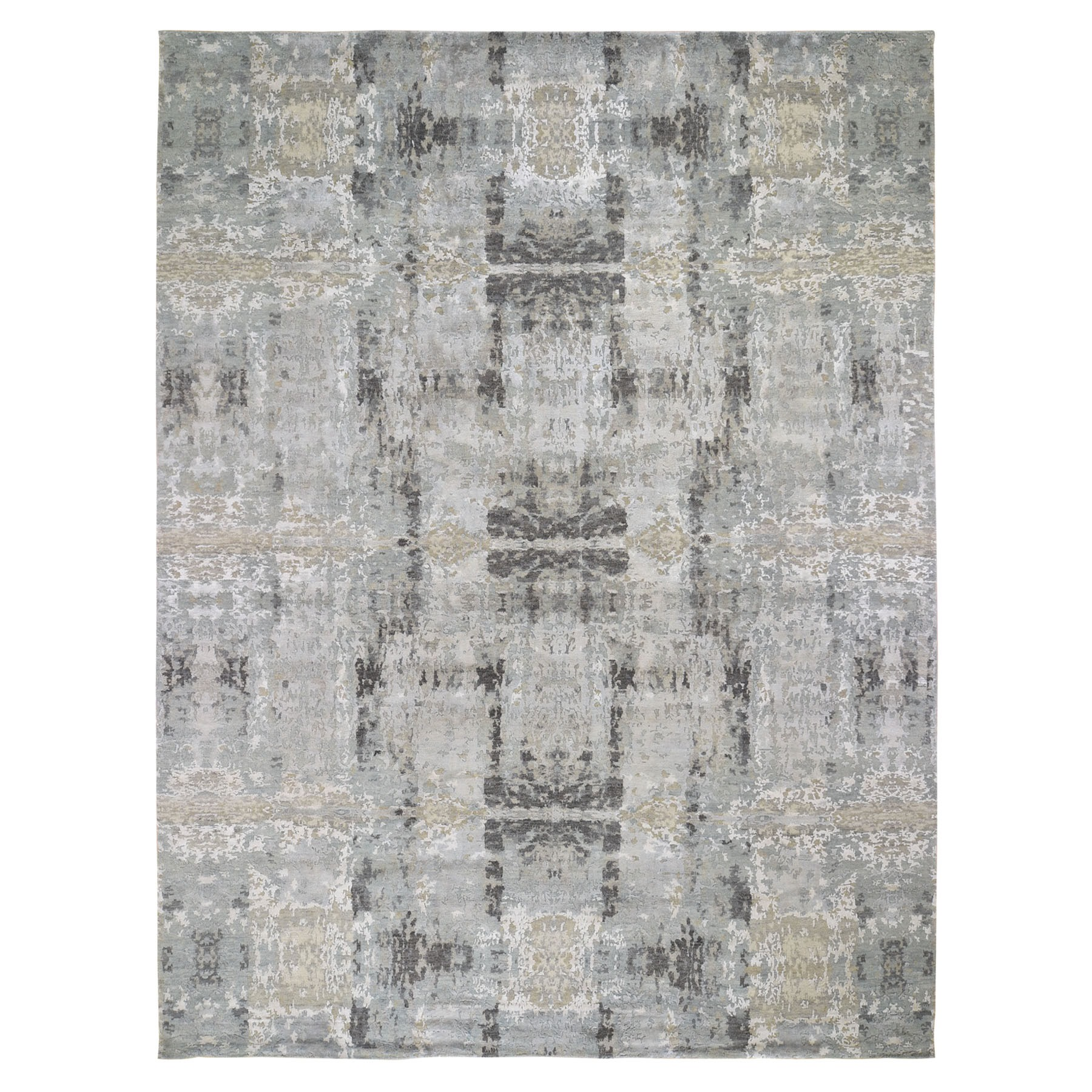 "9'x11'9"" Silver Abstract Design Hi-Lo Pile Wool And Silk Hand Knotted Oriental Rug"