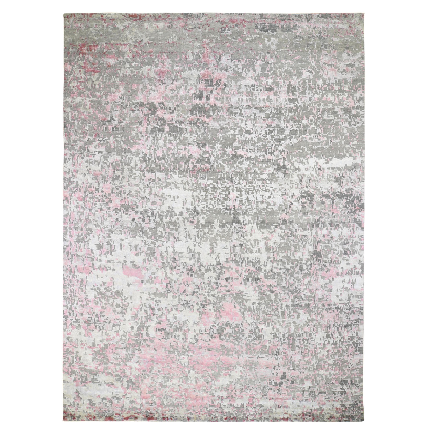 9'x12' Pink Hi-Lo Pile Abstract Design Wool And Silk Hand Knotted Oriental Rug