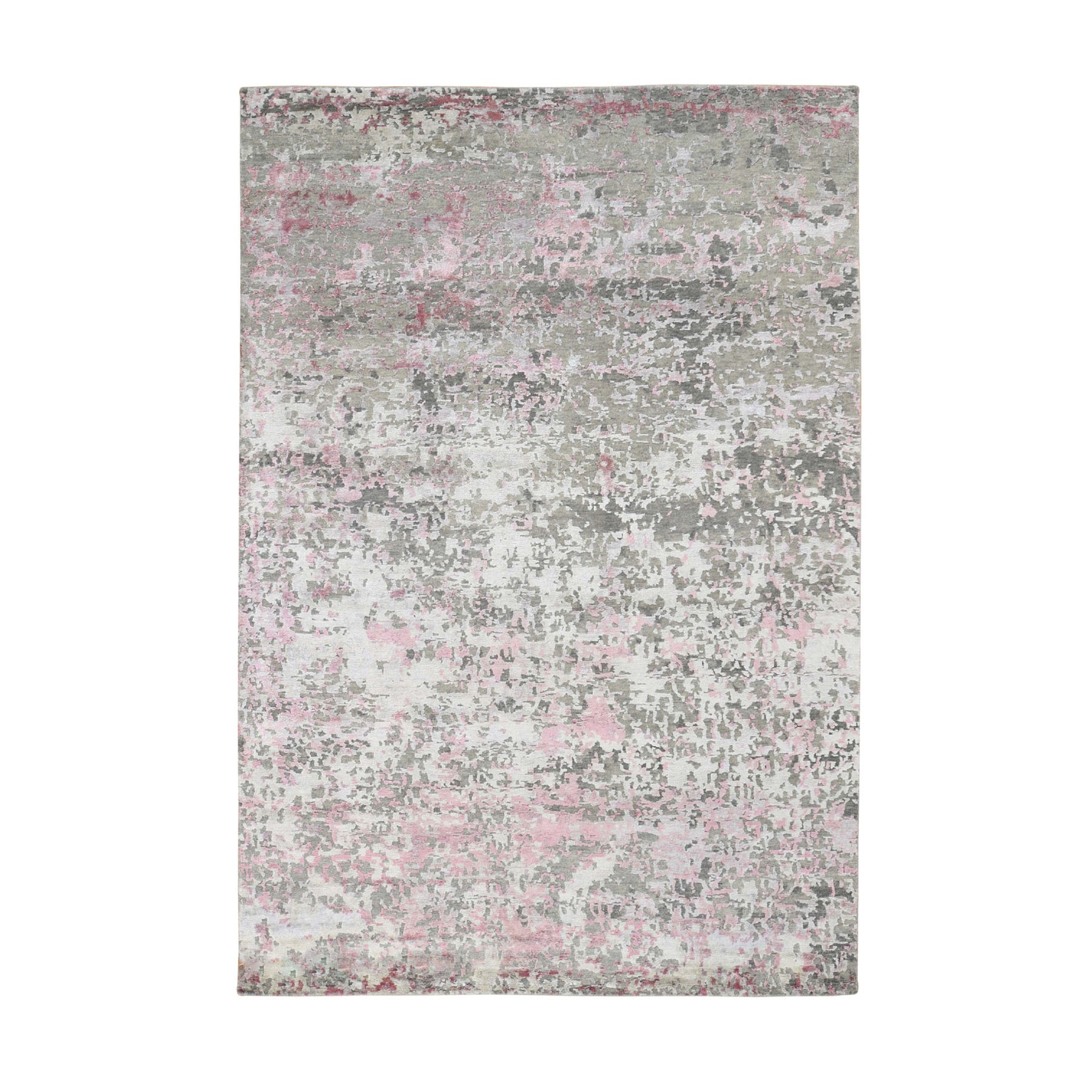 "5'10""x8'9"" Pink Hi-Lo Pile Abstract Design Wool And Silk Hand Knotted Oriental Rug"