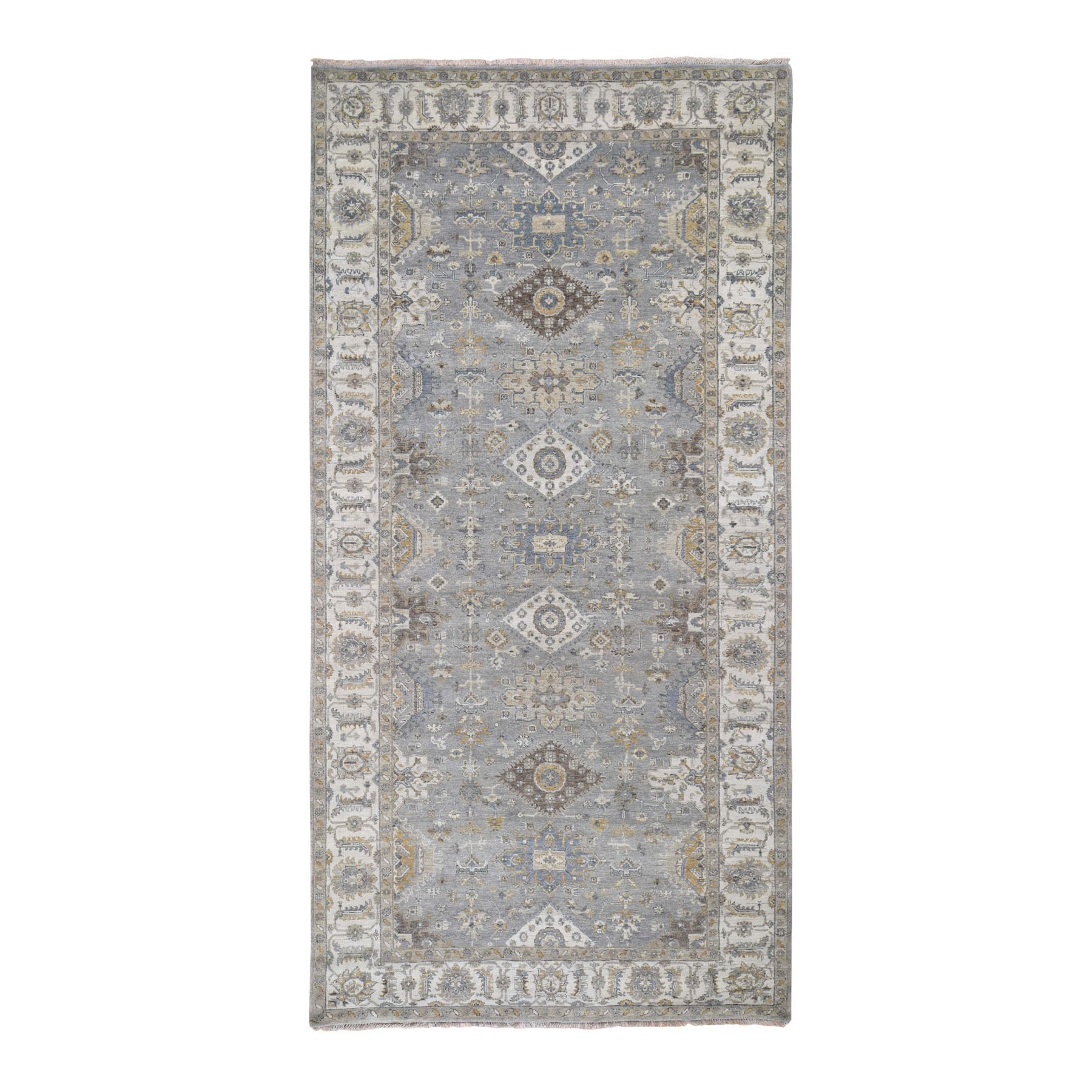 "6'1""x12'  Karajeh Design Pure Wool Hand Knotted Wide Gallery Runner Oriental Rug"