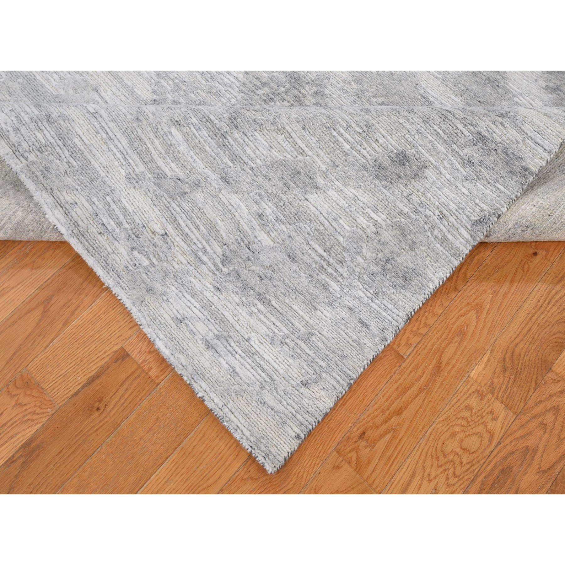6'x9' Silver Hand Spun Undyed Natural Wool Modern Hand Knotted Oriental Rug