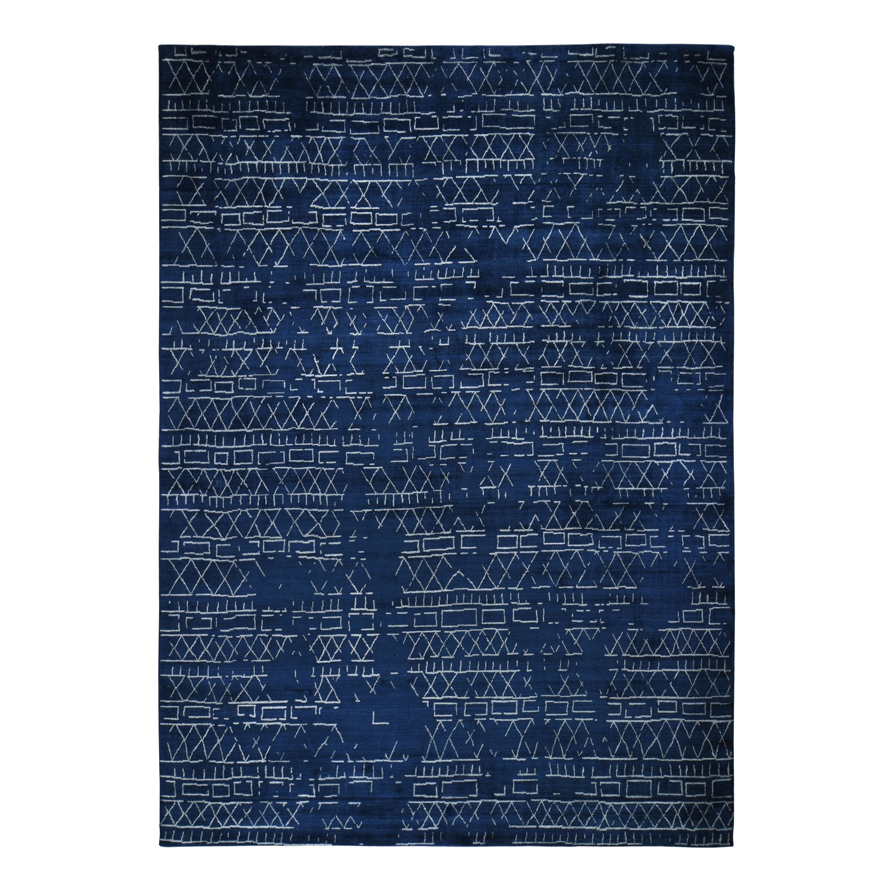 "10'1""x13'10"" Navy Blue Modern Wool And Silk Hand Loomed Oriental Rug"