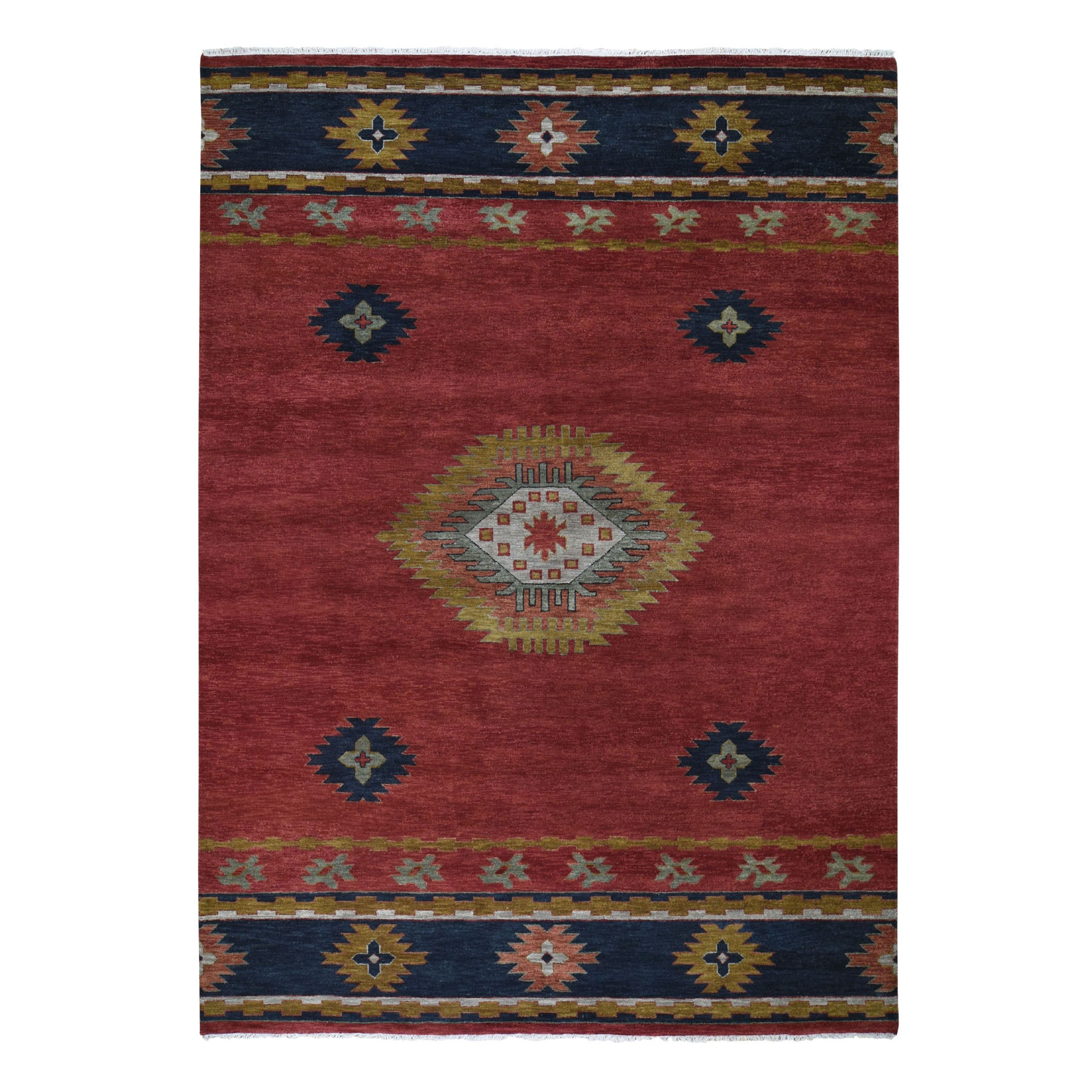 "9'x12'1"" Red Southwest Design Pure Wool Hand Knotted Oriental Rug"