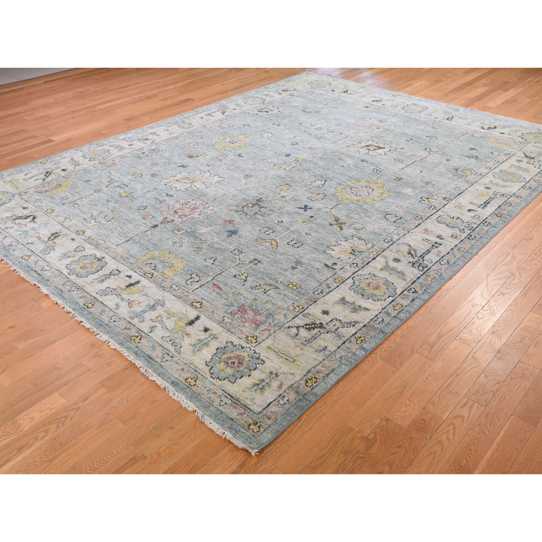 "9'x11'10"" Gray Supple Collection Oushak Design Hand Knotted Oriental Rug"