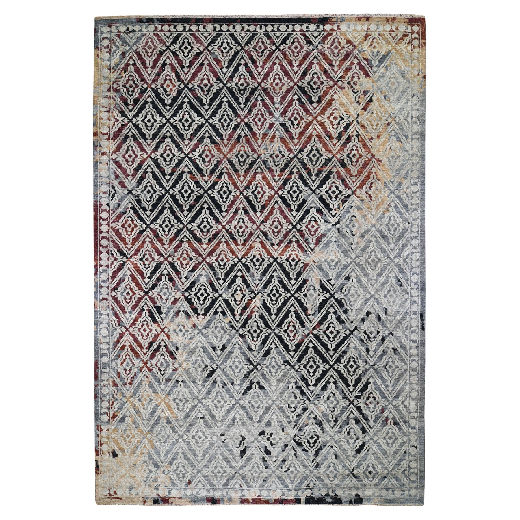 "9'10""x14' Supple Collection Erased Repetitive Mughal Design Hand Knotted Oriental Rug"