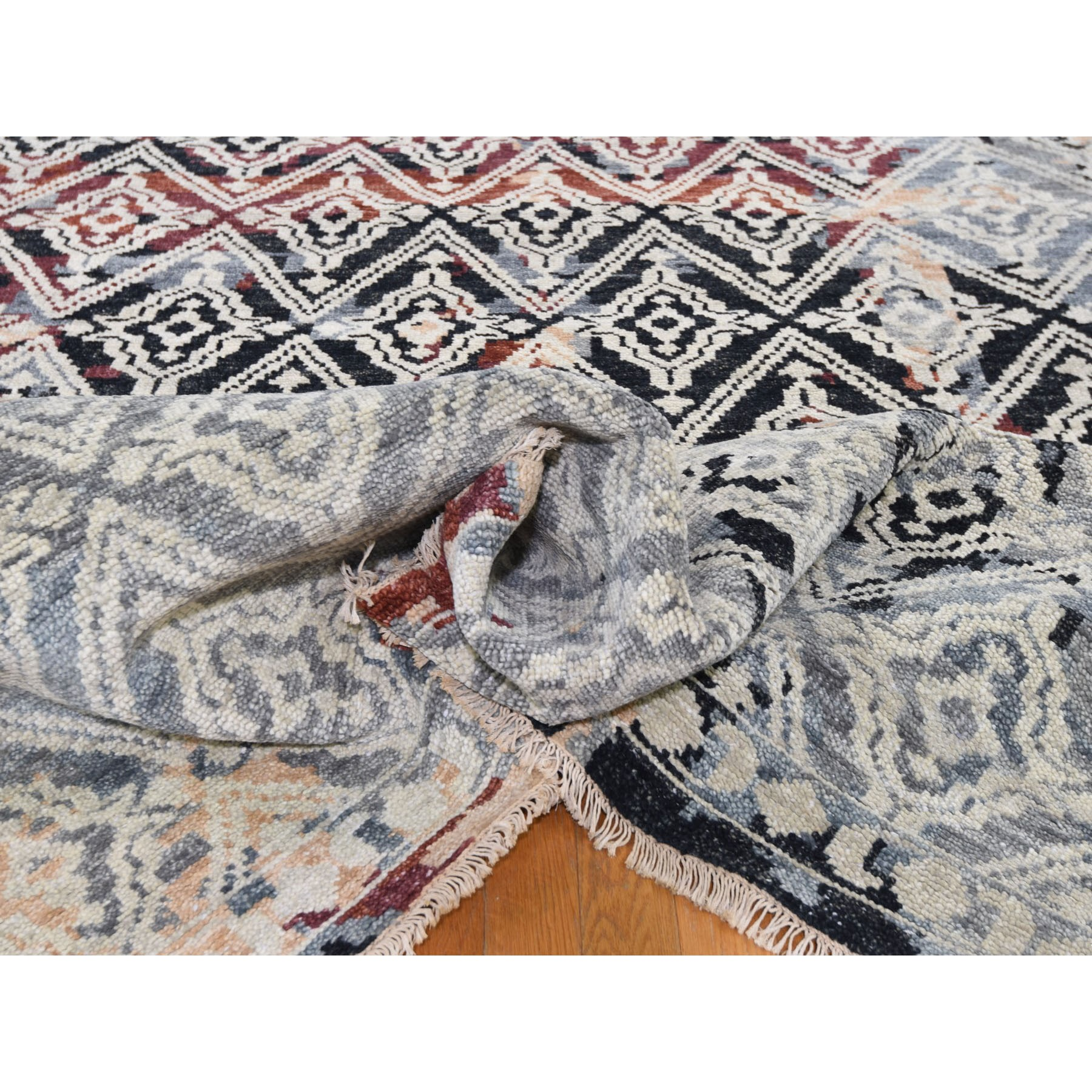 """9'10""""x14' Supple Collection Erased Repetitive Mughal Design Hand Knotted Oriental Rug"""