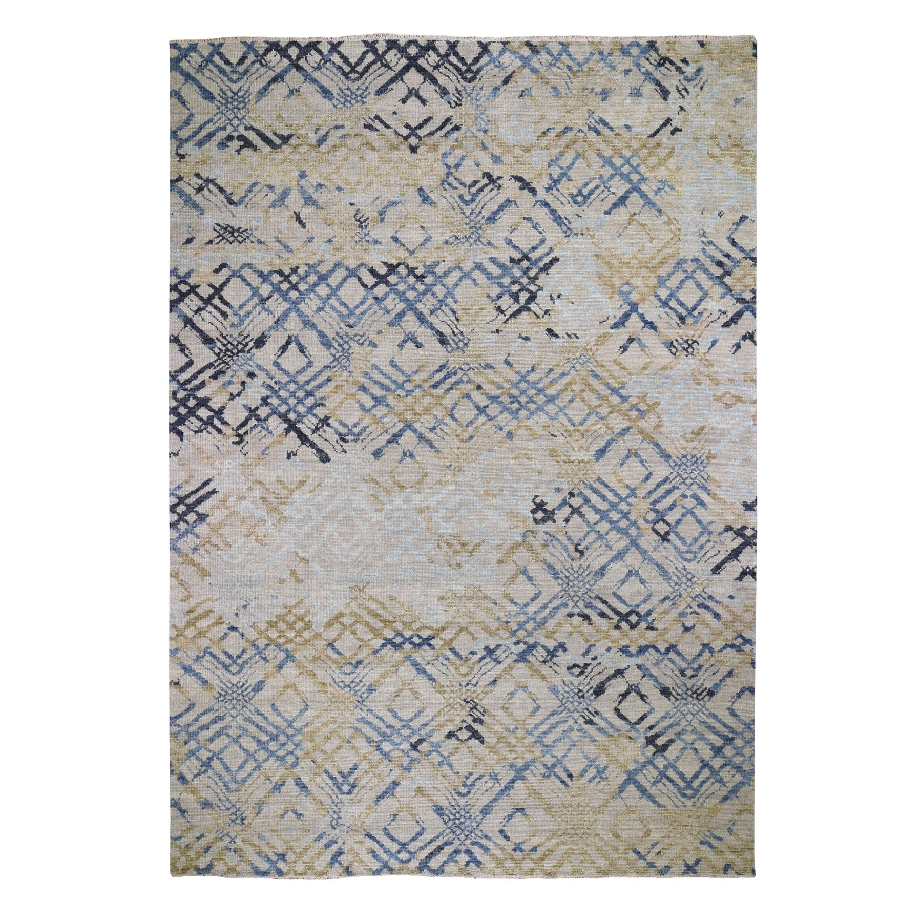 "10'1""x14' Blue Supple Collection Modern Design Hand Knotted Oriental Rug"