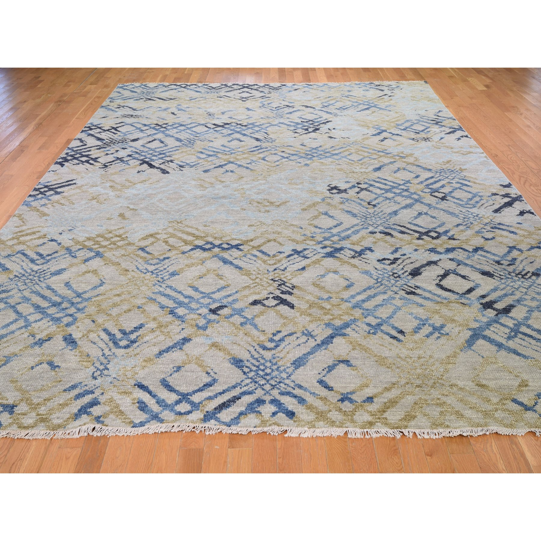"""10'1""""x14' Blue Supple Collection Modern Design Hand Knotted Oriental Rug"""