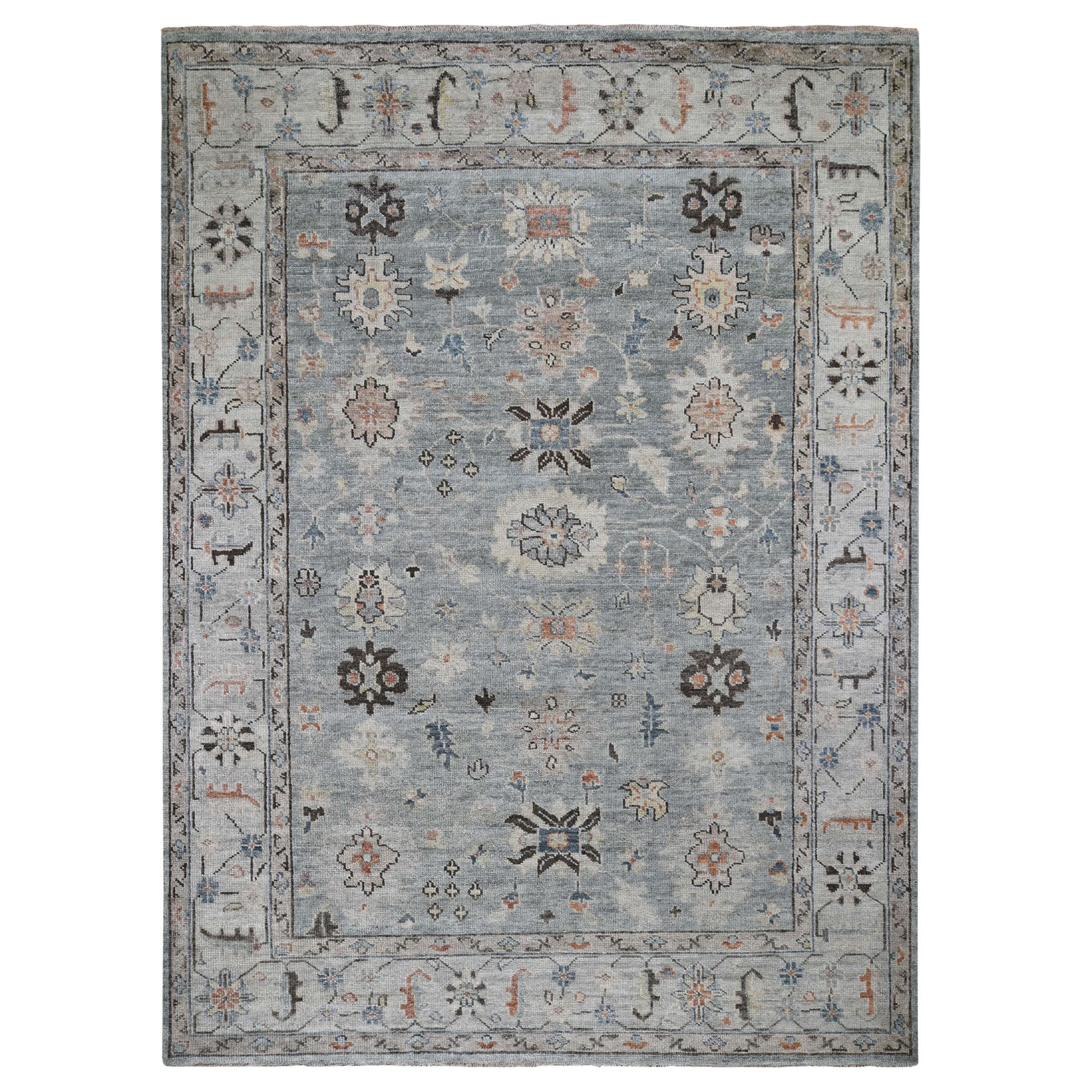 "9'x12'1"" Gray Supple Collection Oushak Design Hand Knotted Oriental Rug"