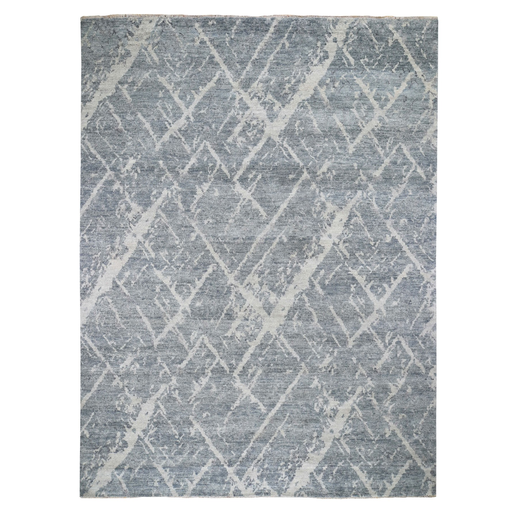 "9'1""x12' Gray Supple Collection Modern Design Hand Knotted Oriental Rug"
