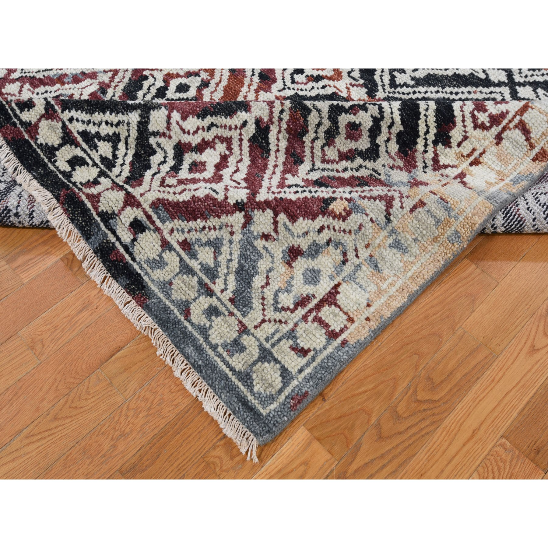 "9'x11'10""  Supple Collection Erased Mughal Design Hand Knotted Oriental Rug"