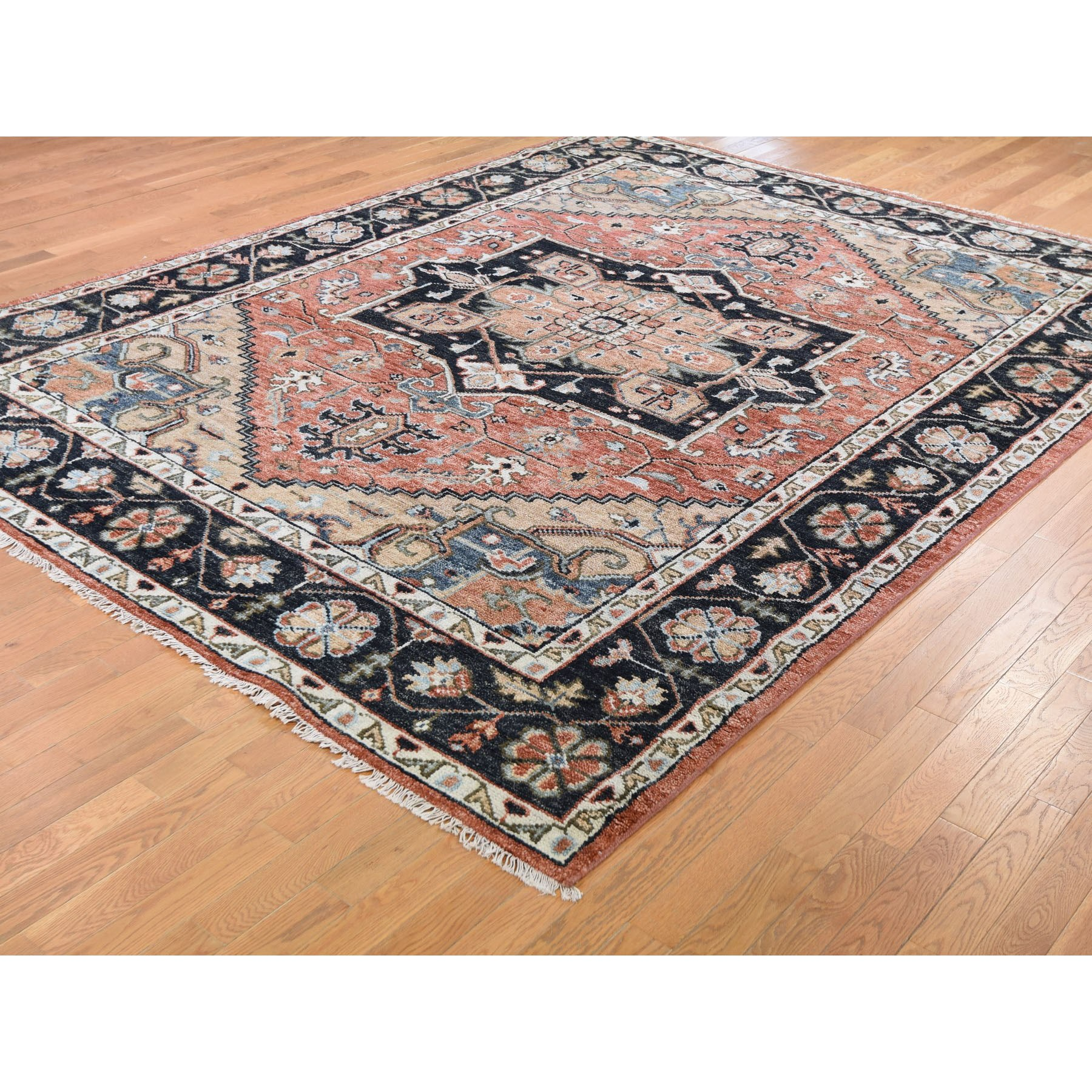 "9'x11'9"" Coral Supple Collection Heriz Design Soft Wool Hand Knotted Oriental Rug"