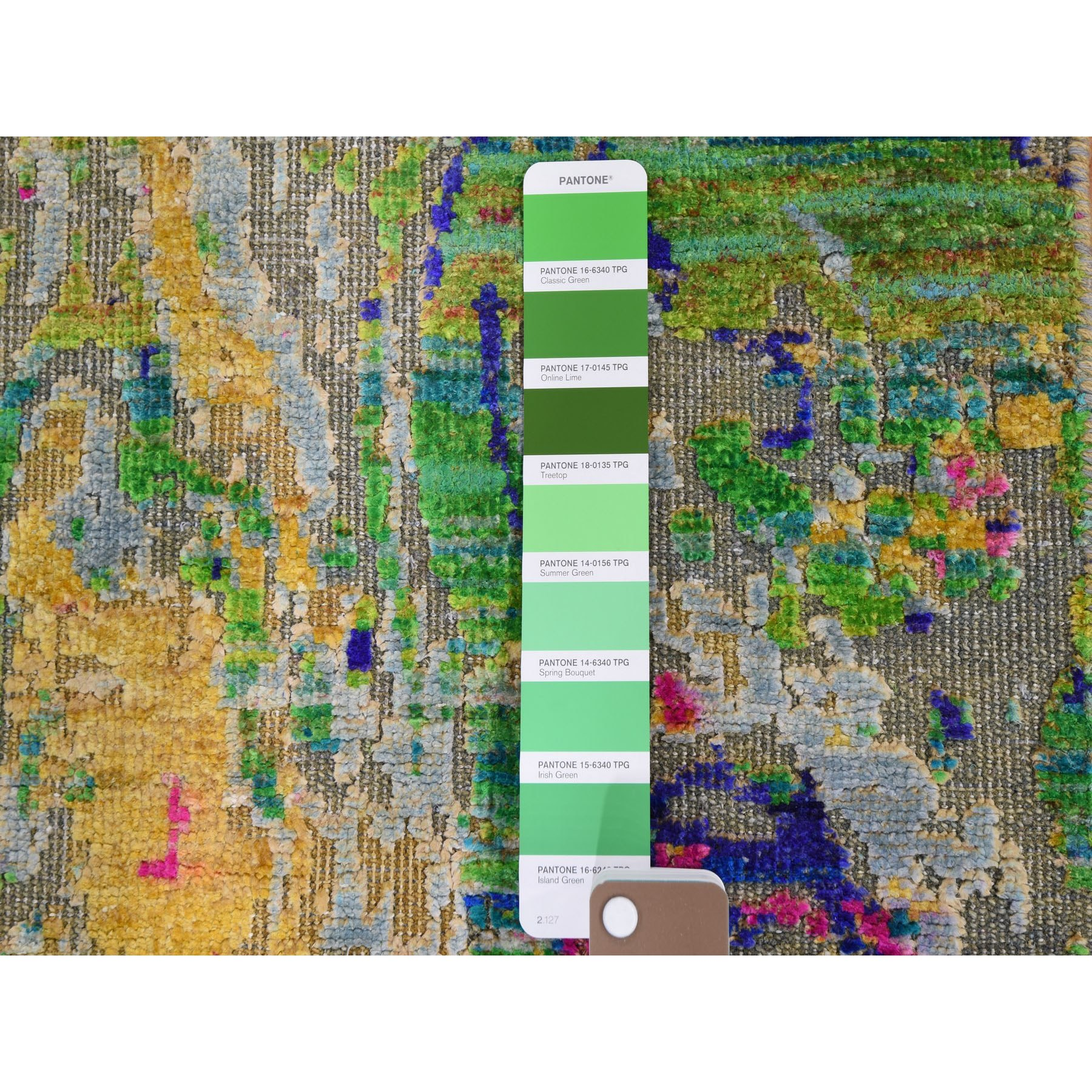 "3'x9'2"" Colorful Sari Silk With Textured Wool The Lava Design Runner Hand Knotted Oriental Rug"