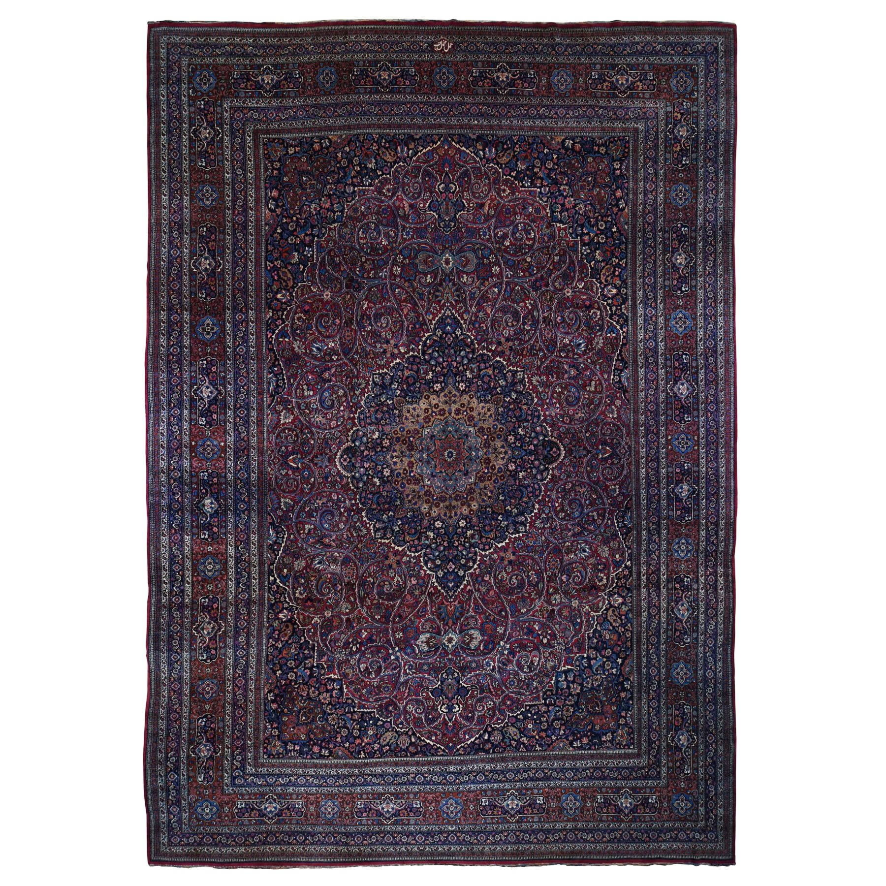 "13'x19'2"" Oversized Antique Persian Mashad Signed Full Pile And Soft Hand Knotted Oriental Rug"