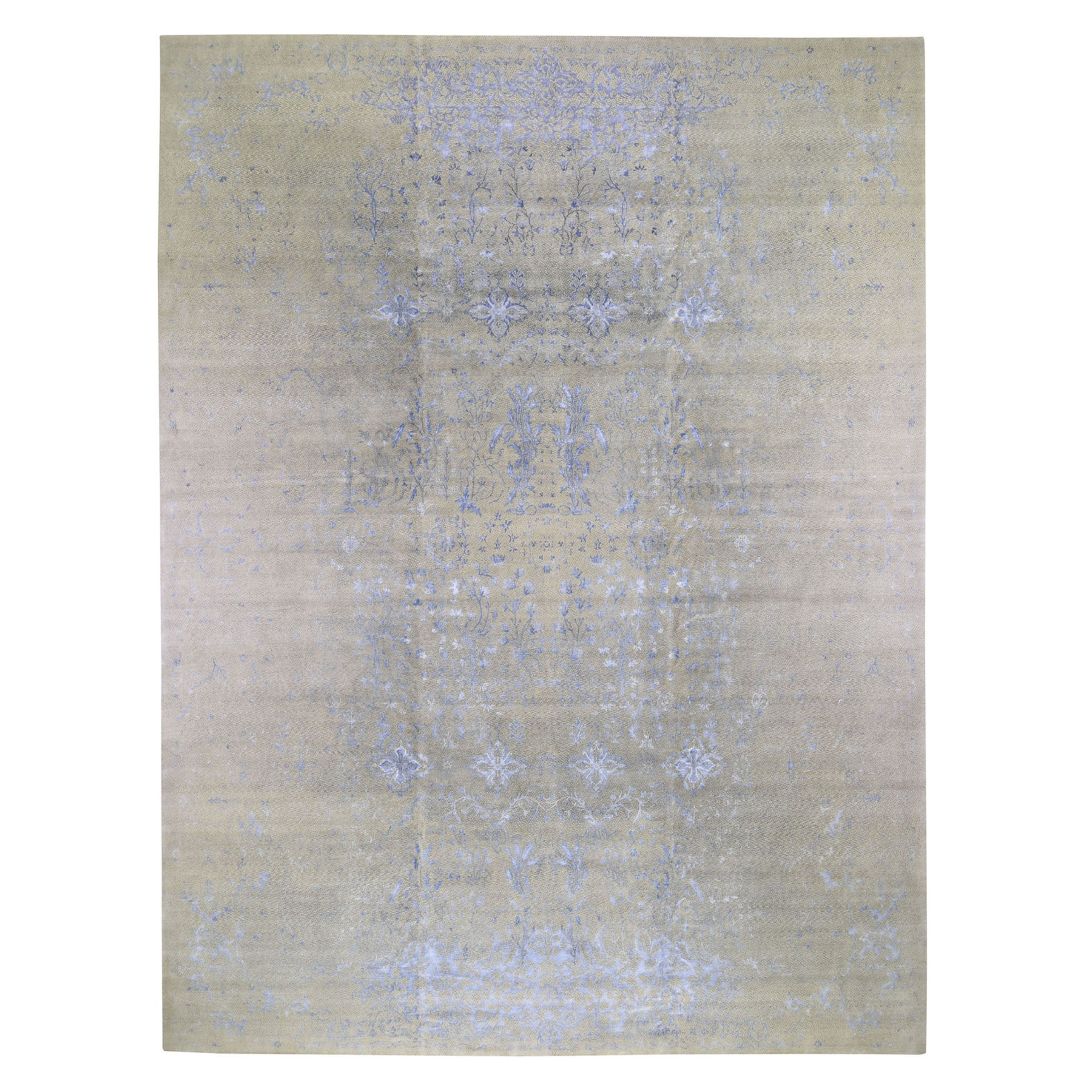 "12'x15'4"" Gray Oversized Hand Knotted Wool And Silk Modern Oriental Rug"