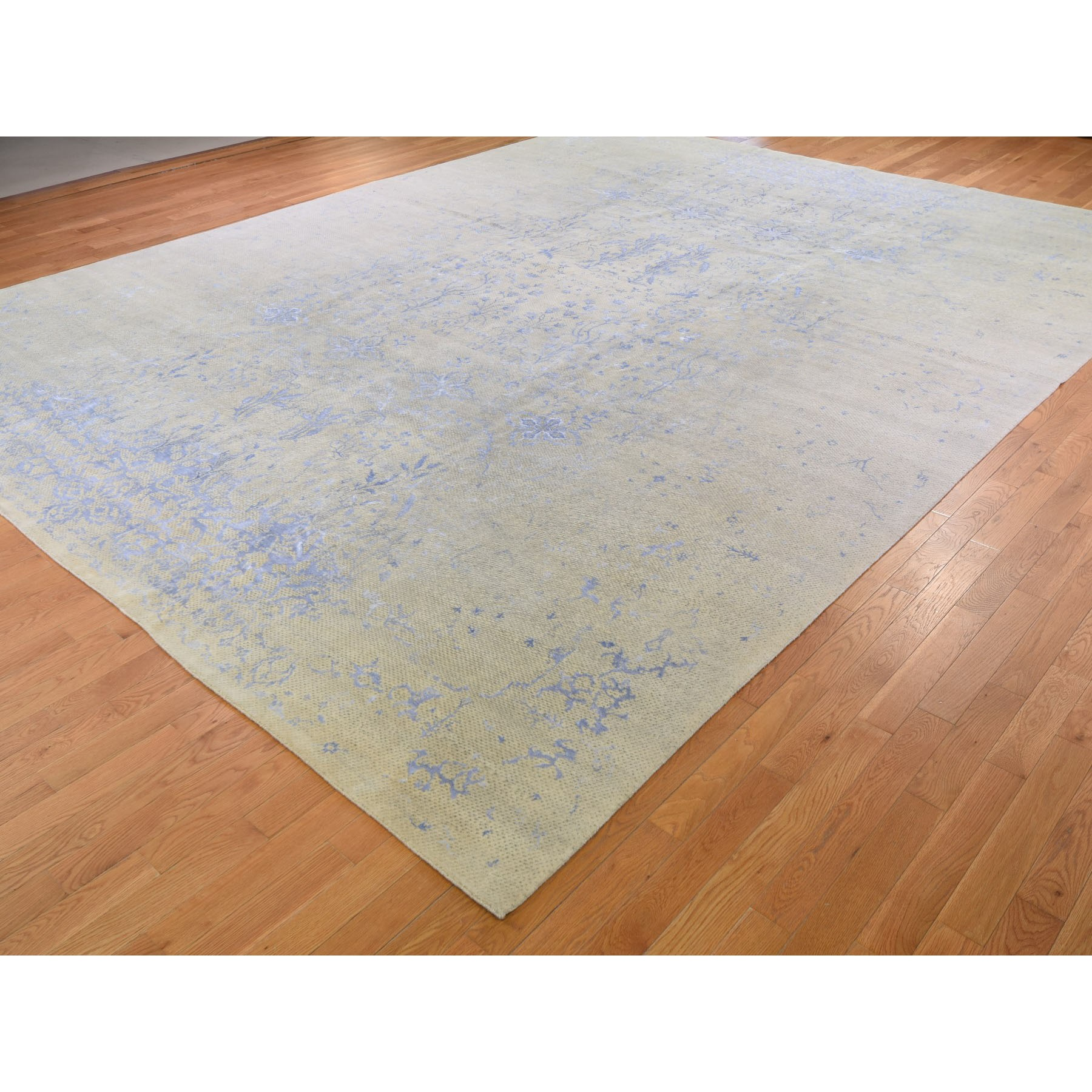 """12'x15'4"""" Gray Oversized Hand Knotted Wool And Silk Modern Oriental Rug"""