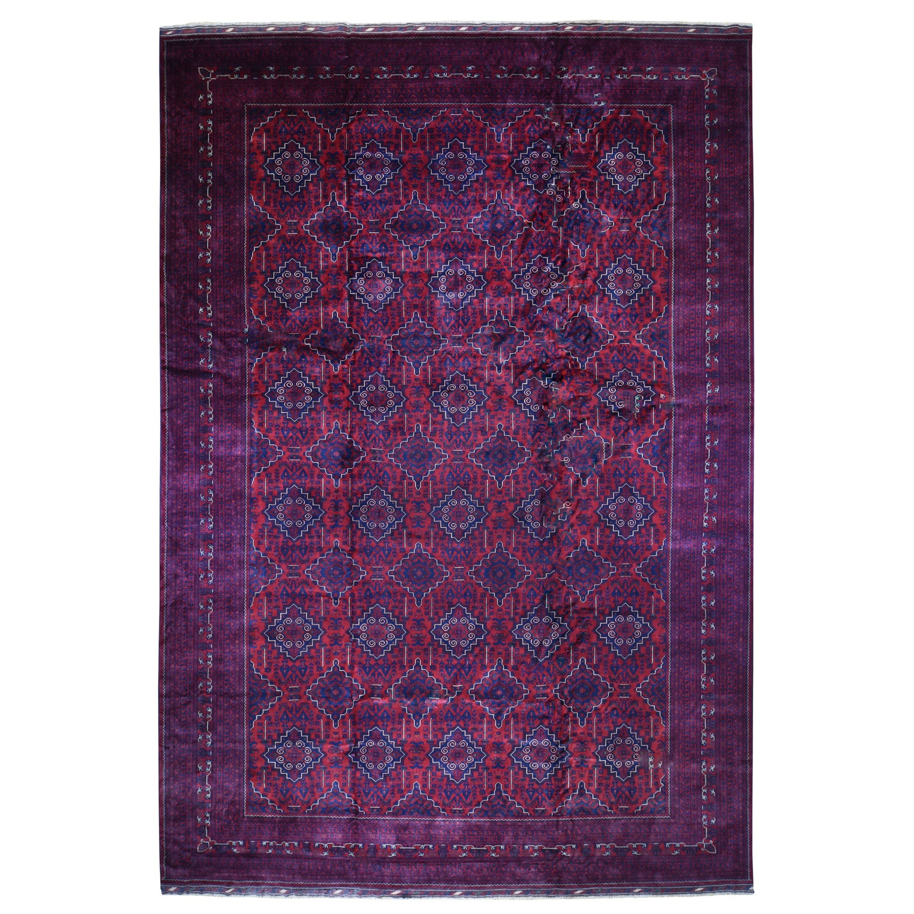 "13'1""X19'7"" Oversized Vegetable Dyes Afghan Khamyab Hand Knotted Oriental Rug moad8779"