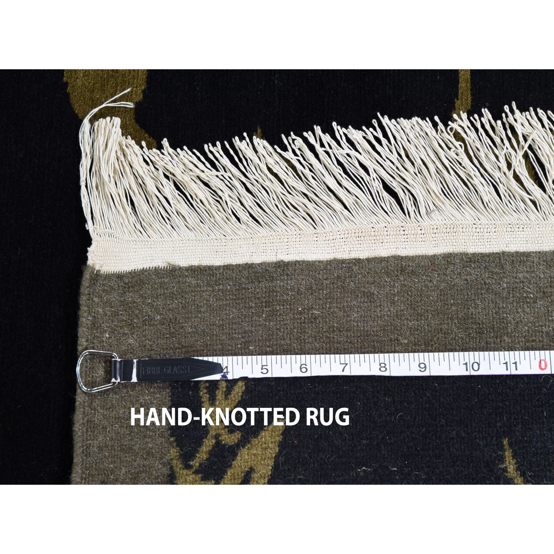 "9'x11'7"" On Clearance Modern Tibetan Pure Wool Botanical Design Hand Knotted Oriental Rug"