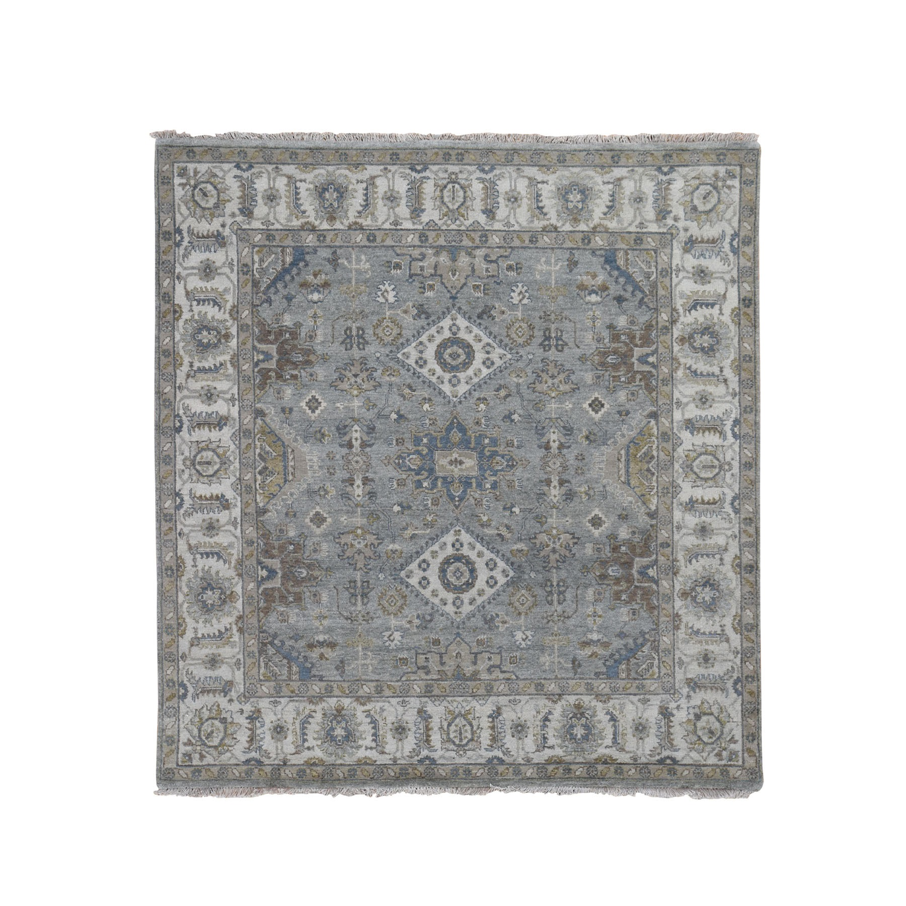"6'2""x6'2"" Square Gray Karajeh Design Pure Wool Hand Knotted Oriental Rug"
