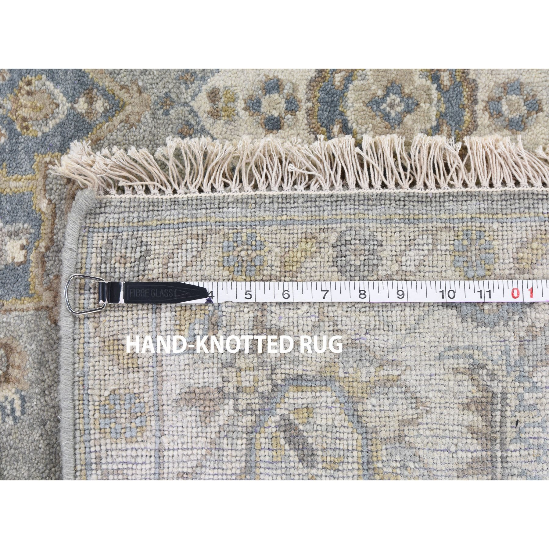 """6'2""""x6'2"""" Square Gray Karajeh Design Pure Wool Hand Knotted Oriental Rug"""