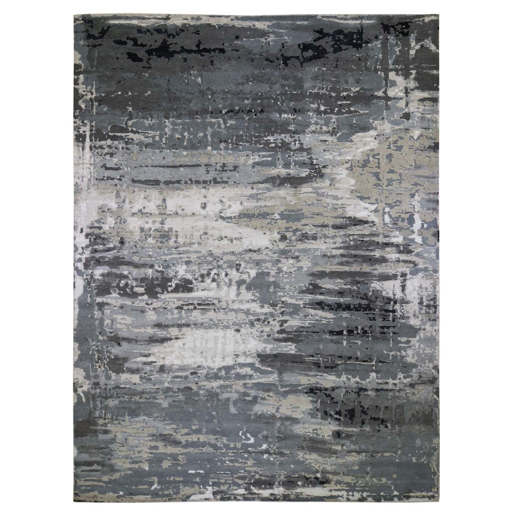 12'X15' Oversize Hi-Lo Pile Abstract Design Wool And Silk Hand Knotted Oriental Rug moad878c