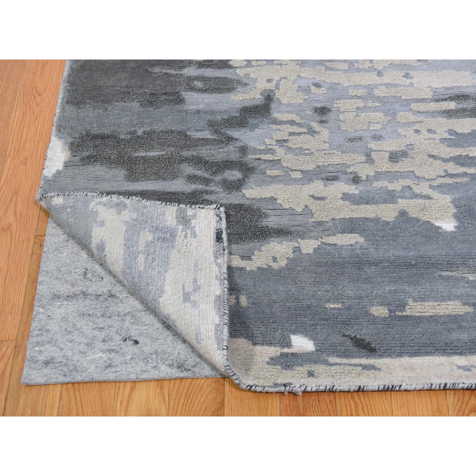 12'x15' Oversize Hi-Lo Pile Abstract Design Wool And Silk Hand Knotted Oriental Rug