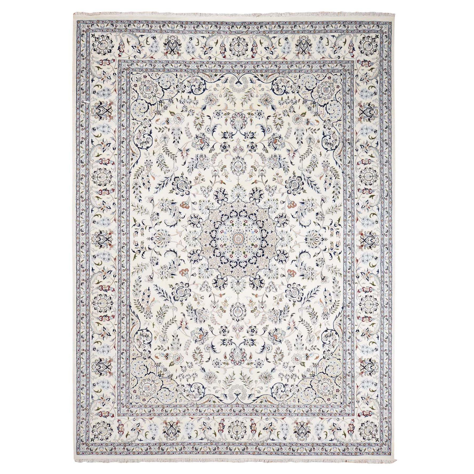 """9'1""""X12'1"""" Wool And Silk 250 Kpsi Ivory Nain Hand Knotted Oriental Rug moad878d"""