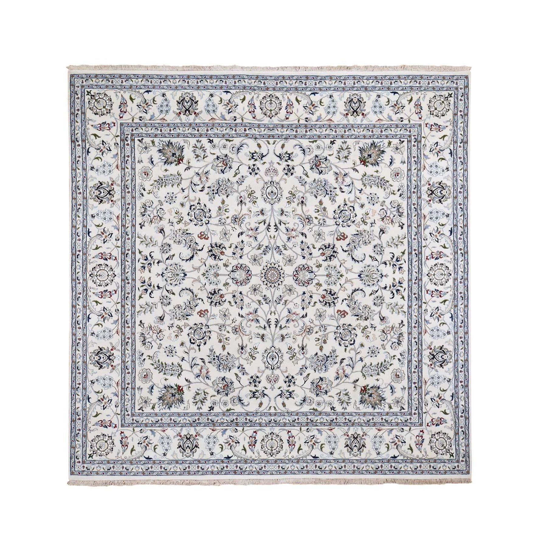 10'X10' Square Wool And Silk 250 Kpsi All Over Design Ivory Nain Hand Knotted Oriental Rug moad878e