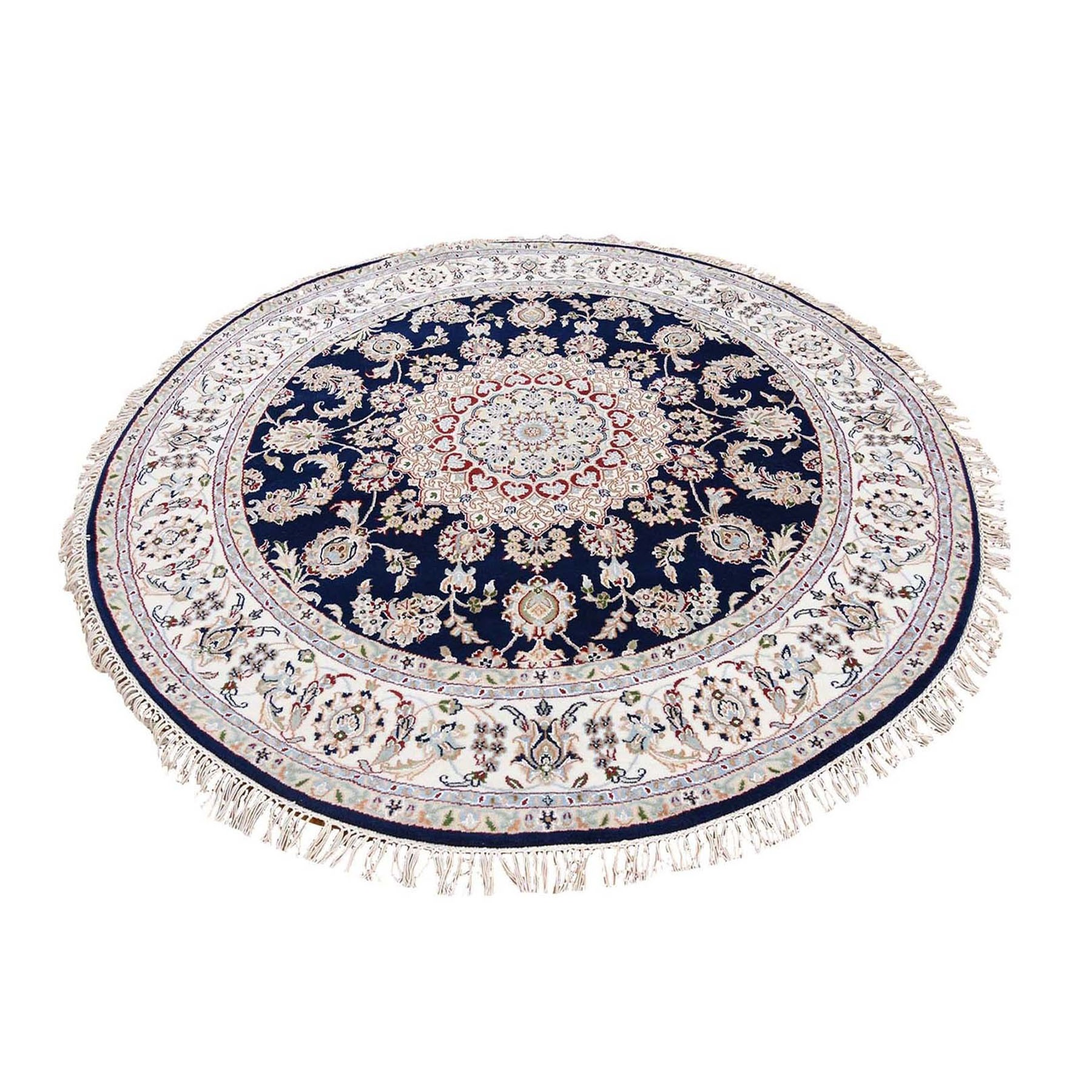 8'x8' Navy Blue Round Nain Wool And Silk 250 KPSI Hand Knotted Oriental Rug